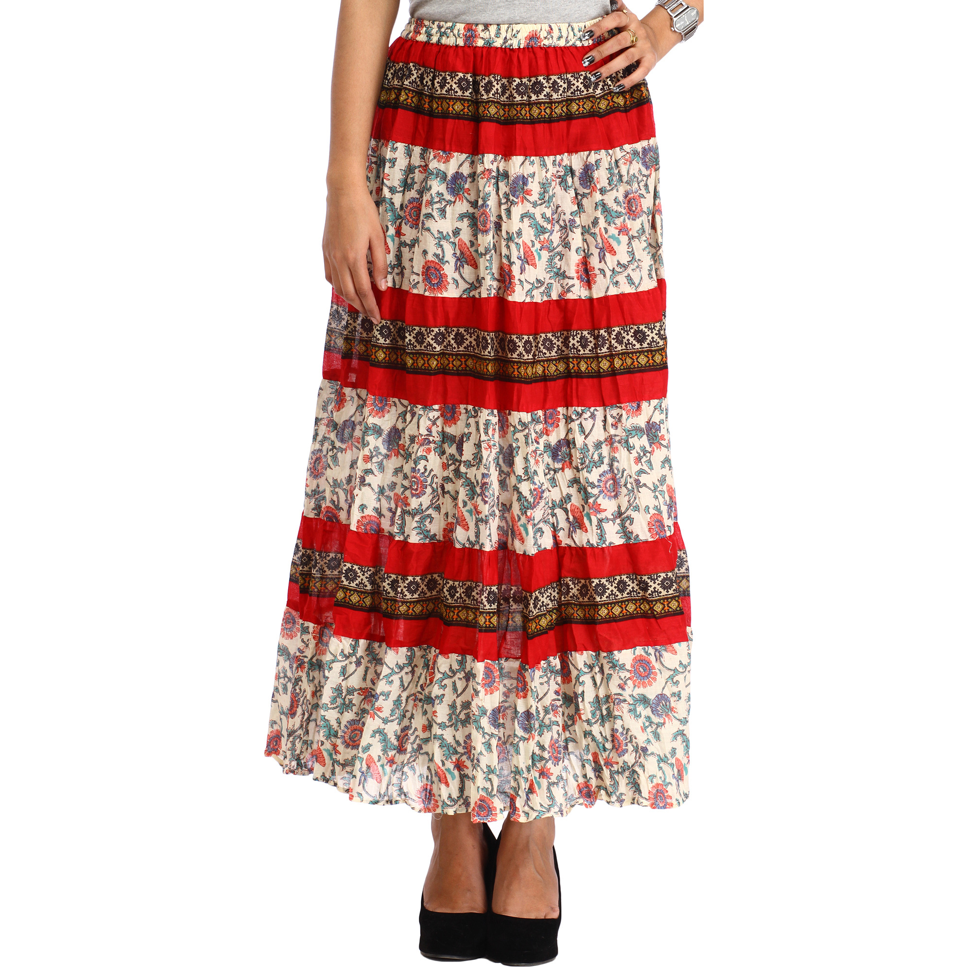 Cream and Red Long Skirt with Printed Flowers