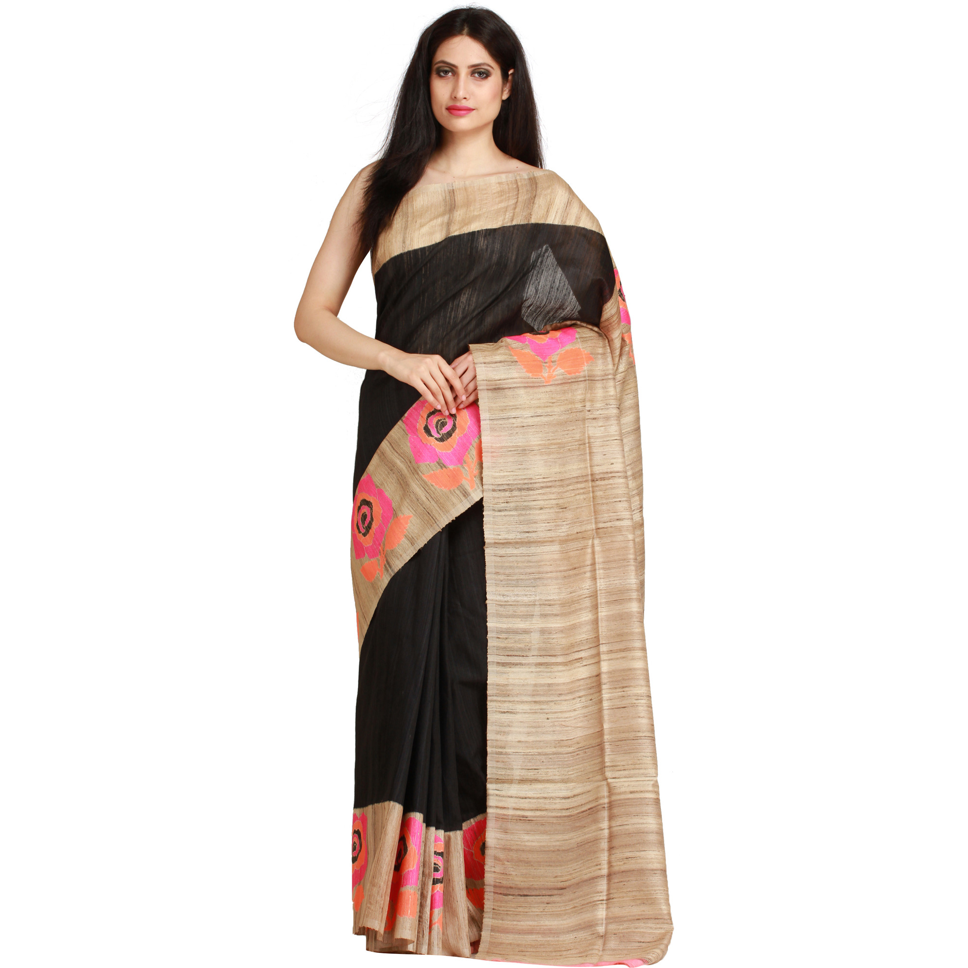 Black and Beige Sari from Banaras with Hand-woven Roses on Border