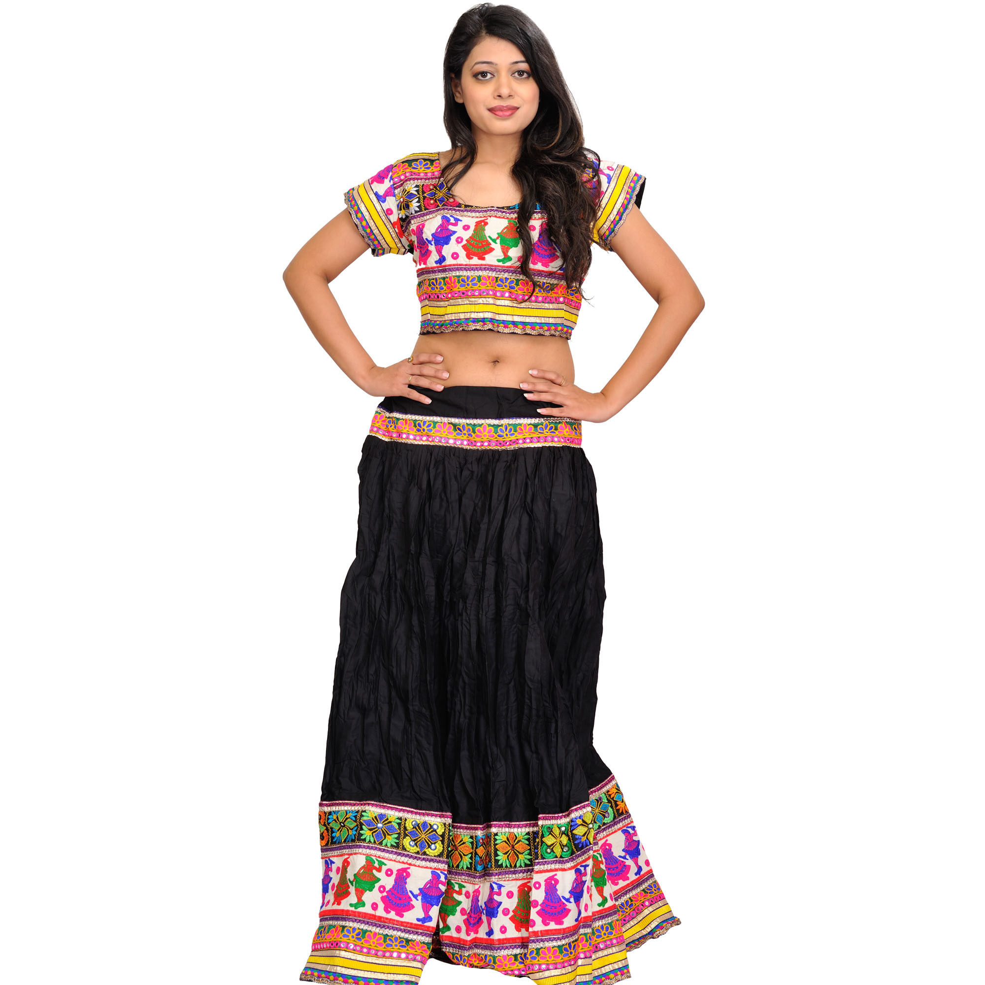 Jet-Black Two-Piece Embroidered Lehenga Choli with Dancing Couples on Border