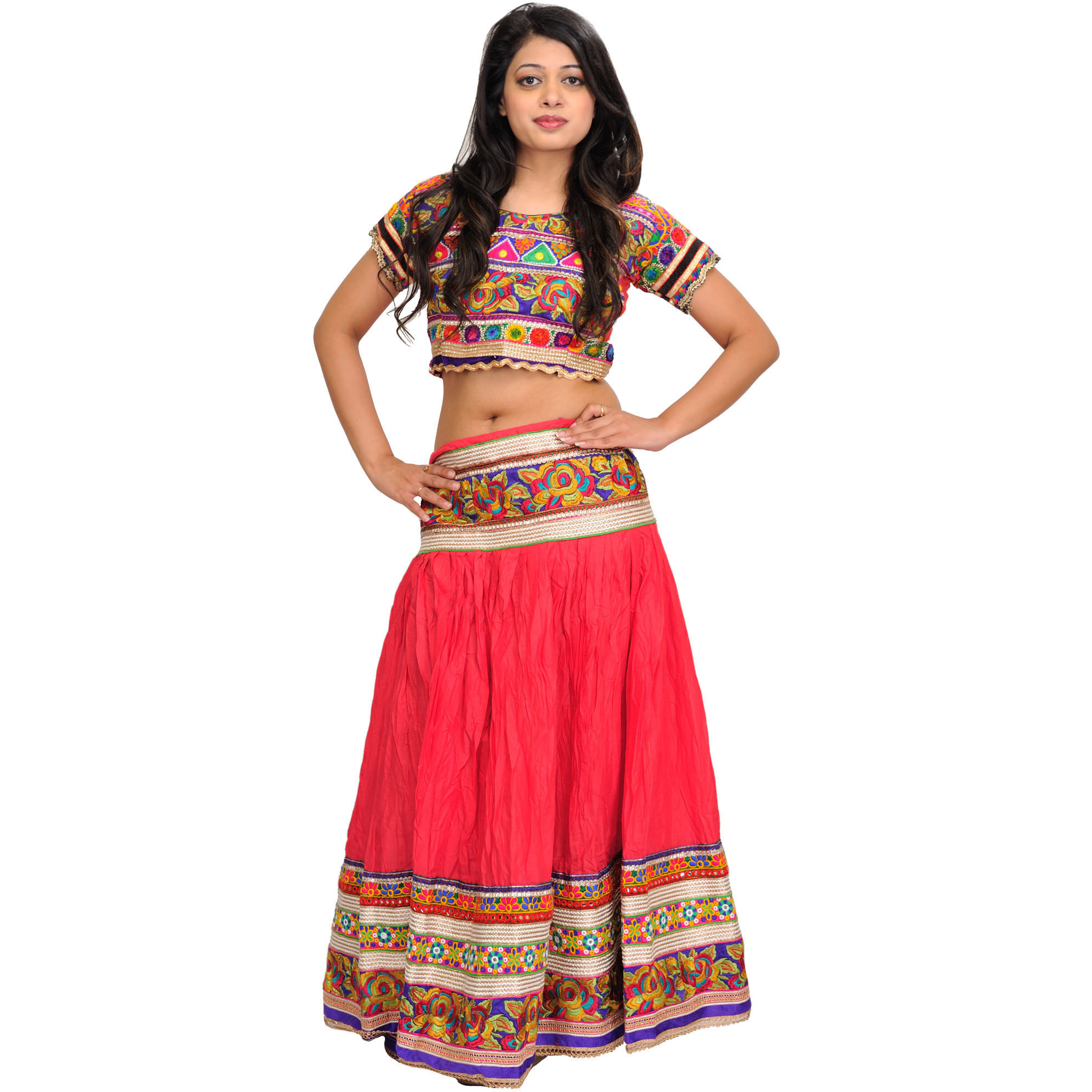 Porcelain-Rose Two-Piece Lehenga Choli with Floral Thread Embroidery and Gota Border