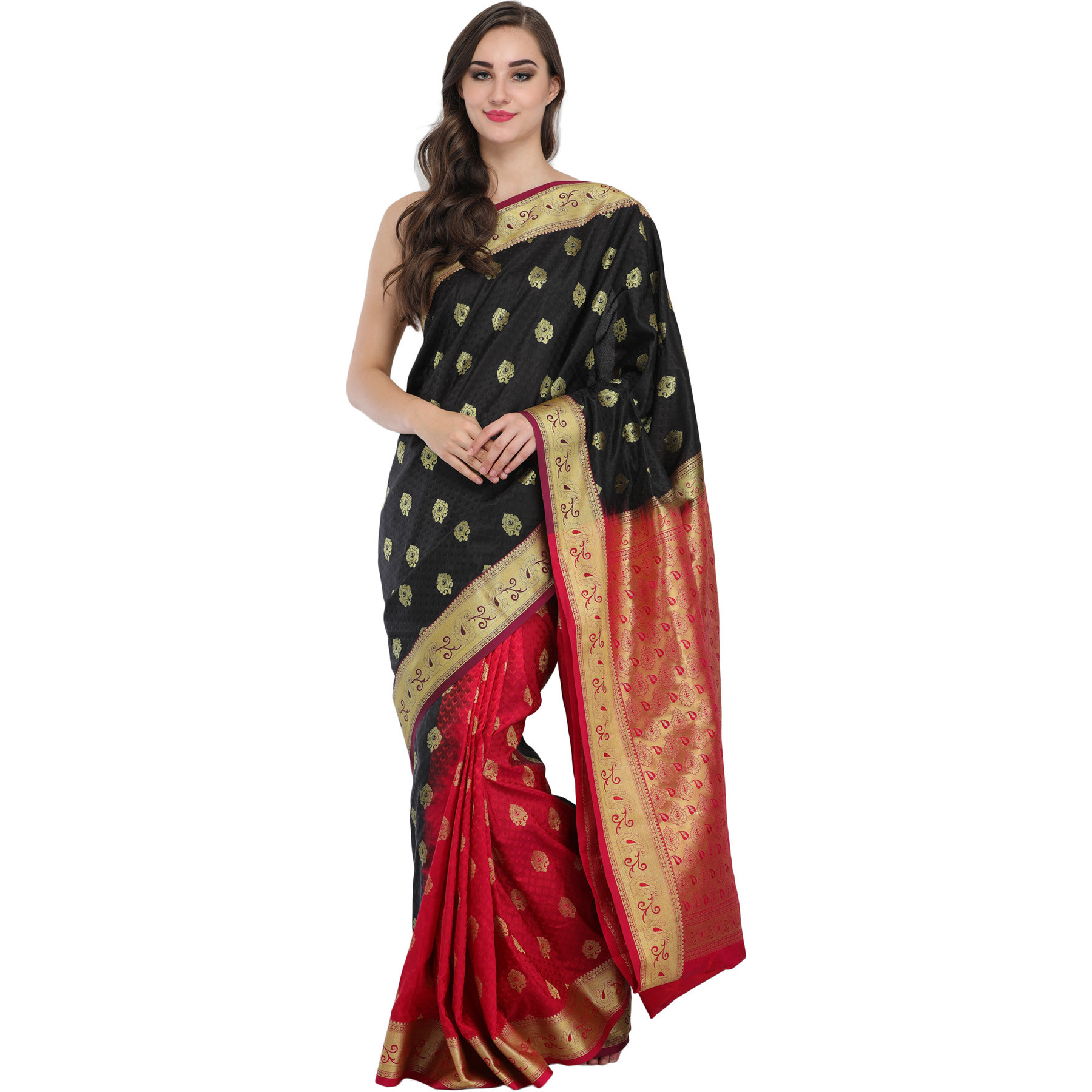 Black and Red Double-Shaded Wedding Sari from Bangalore with Golden Bootis and Brocaded Pallu