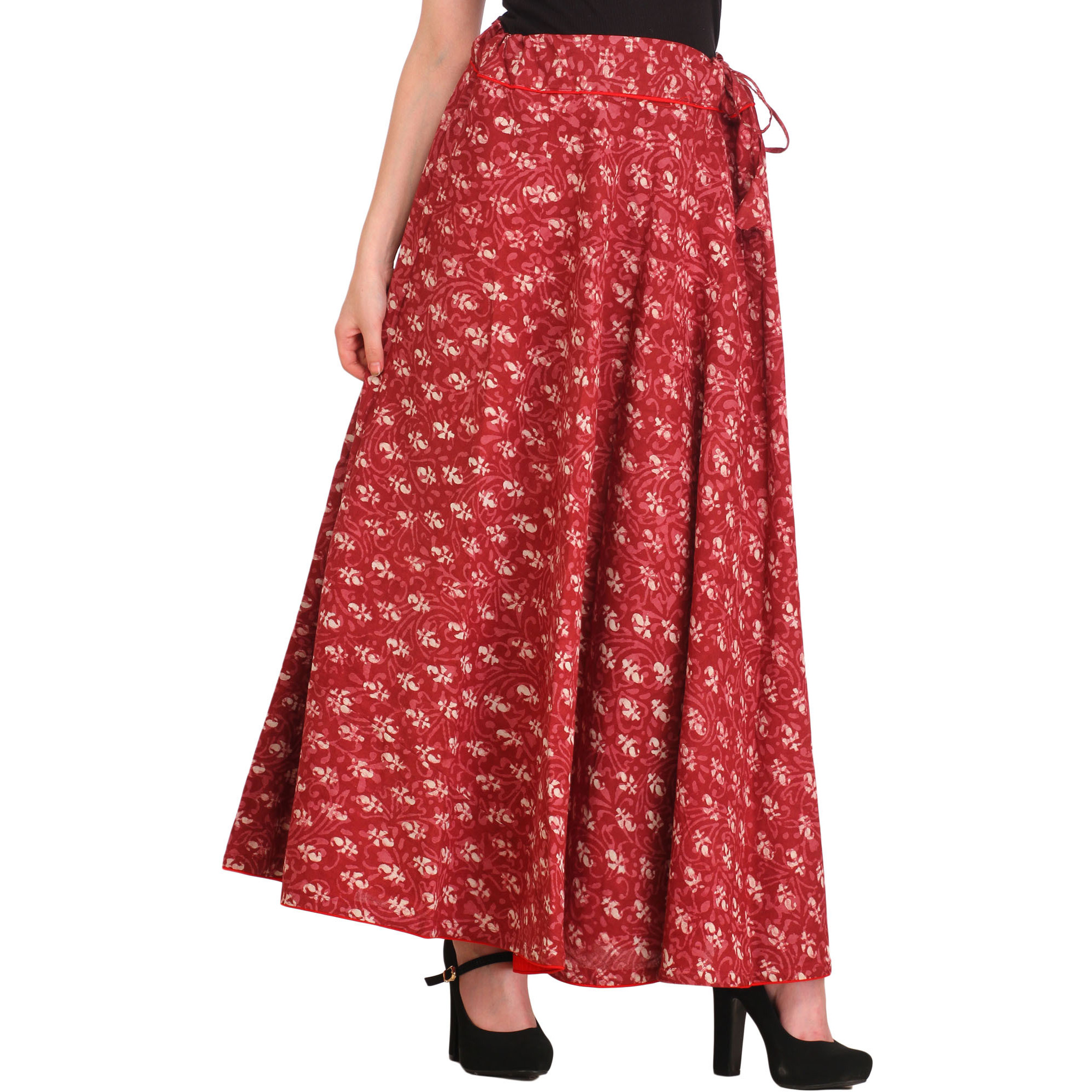 Dry-Rose Bagdoo Printed Long Skirt with Piping-work