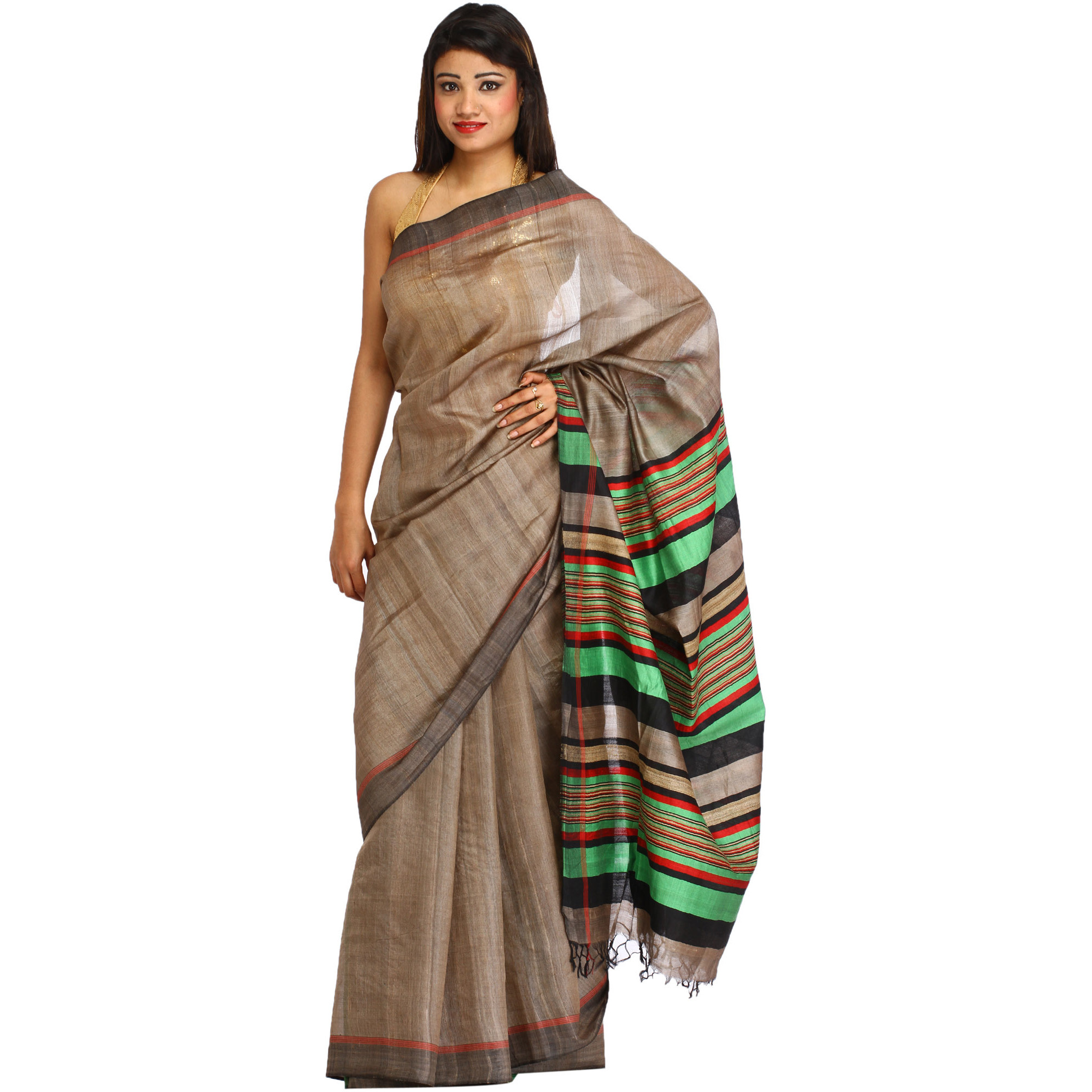 Taupe-Gray Plain Sari from Jharkhand with Woven Stripes on Pallu