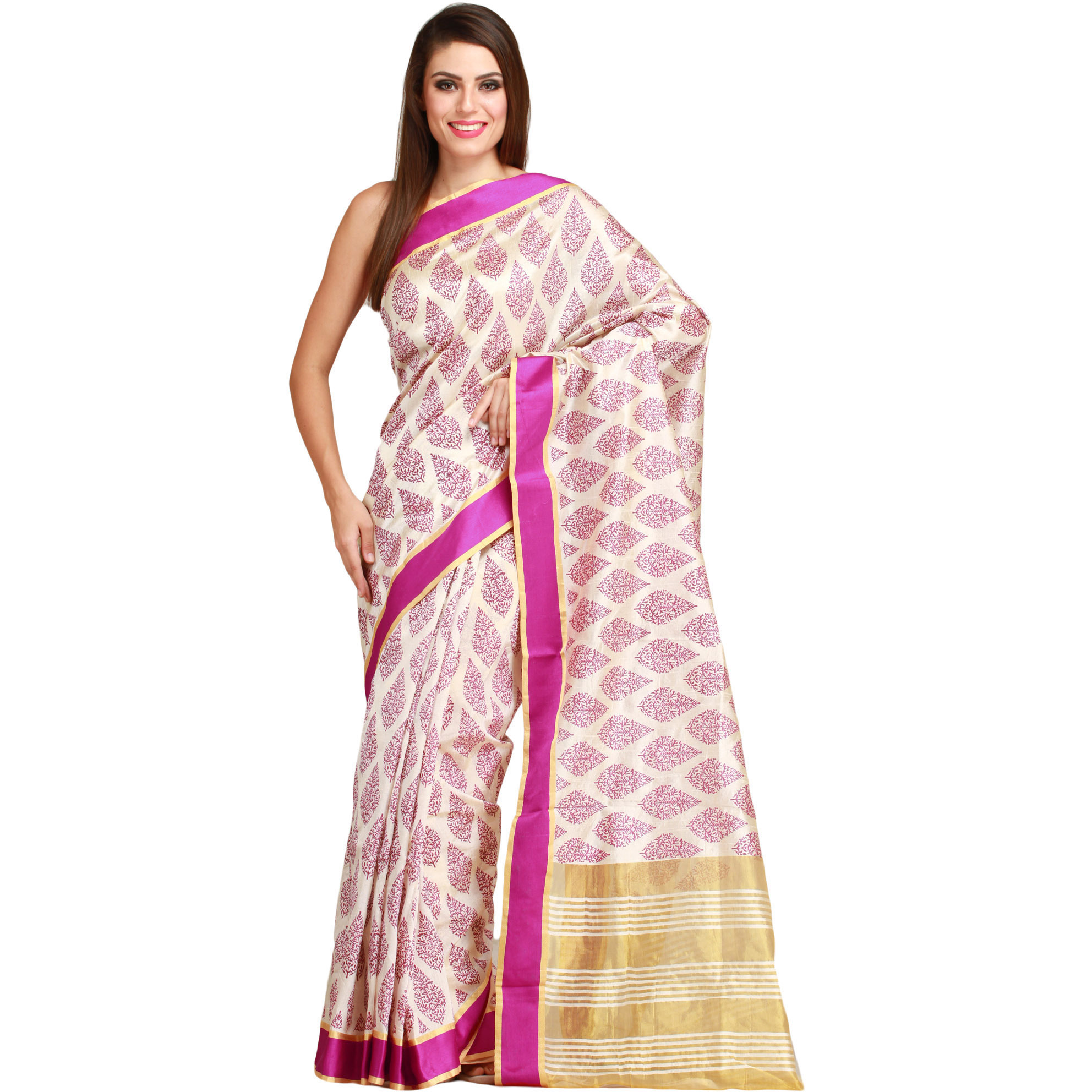 Cream and Pink Sari from Bengal with Printed Leaves and Striped Aanchal
