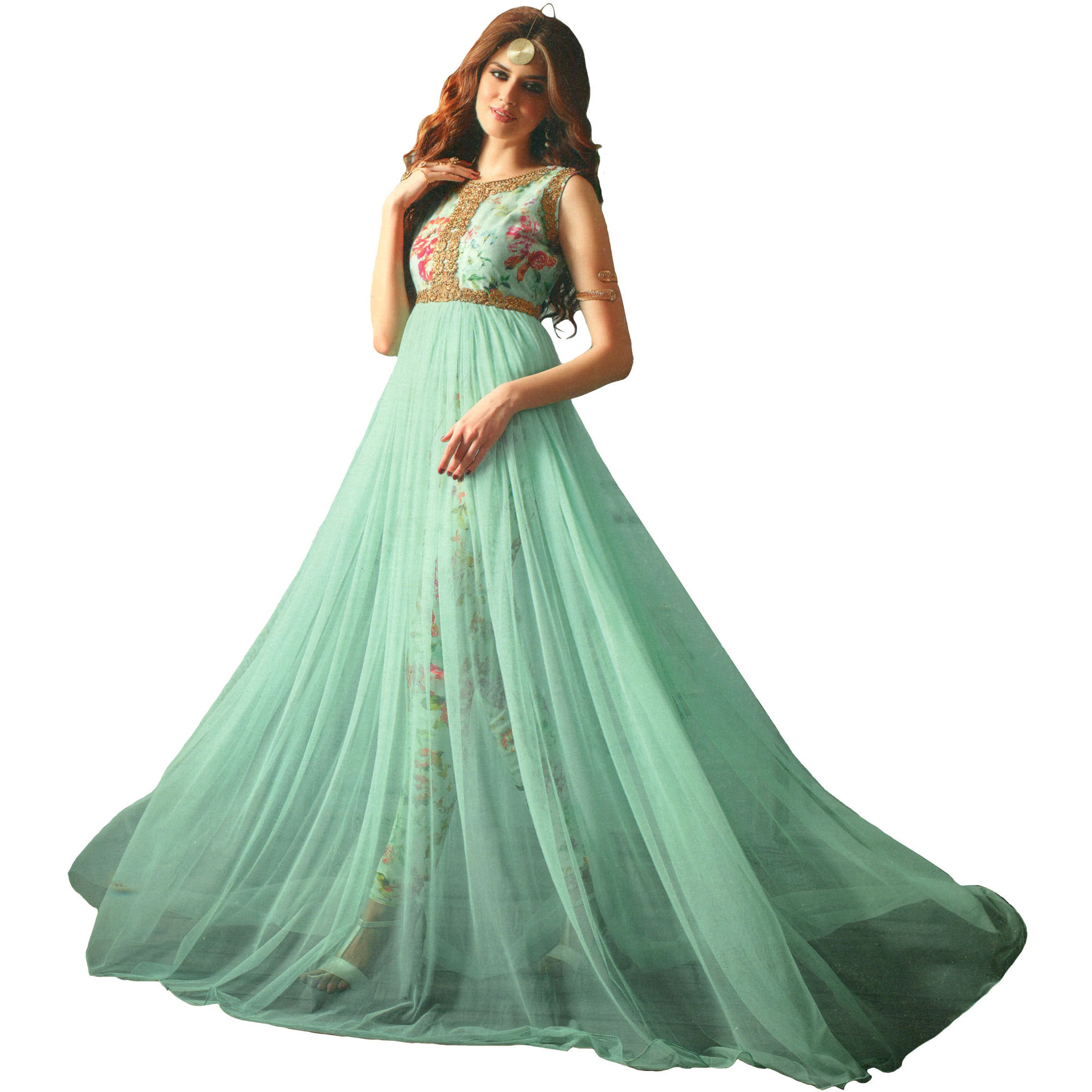 Fair-Aqua Floor Length Designer Suit with Floral-Print and Zari-Embroidery on Neck