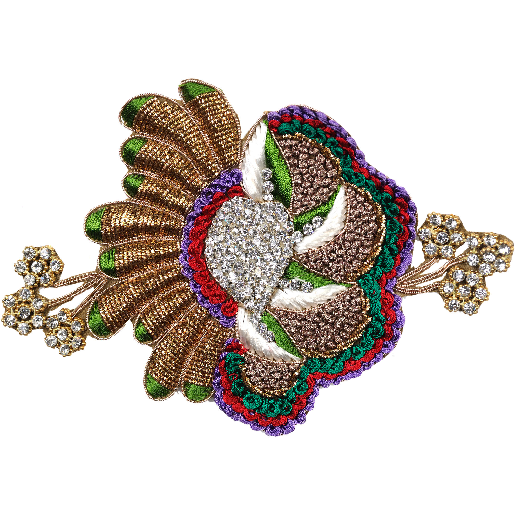 Multicolored Designer Embroidered Floral Patch with Stones