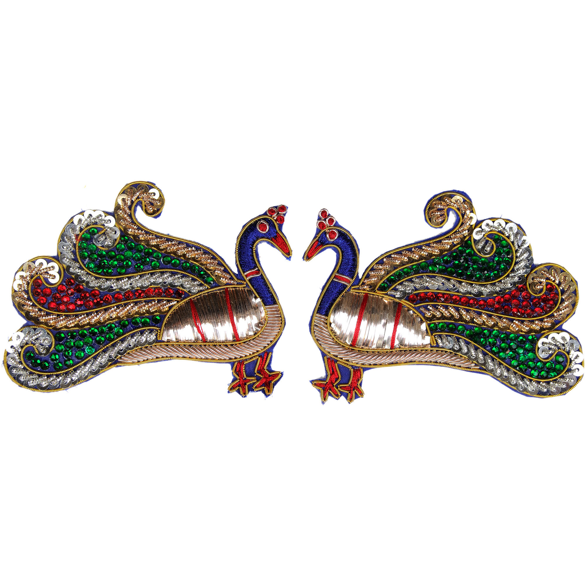 Multicolor Pair of Peacock Patches with Crystals