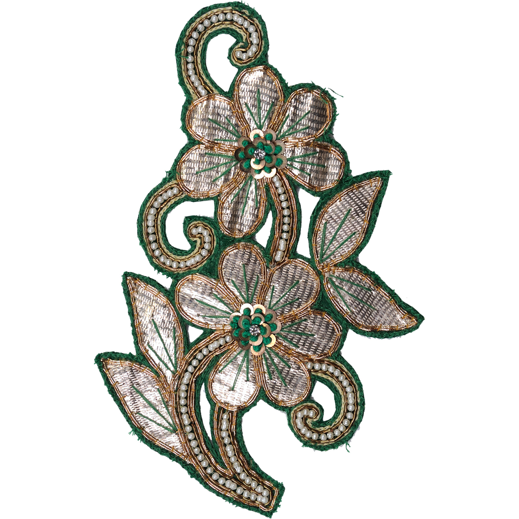 Golden and Green Twin Flowers Embroidered Patch with Thread-work