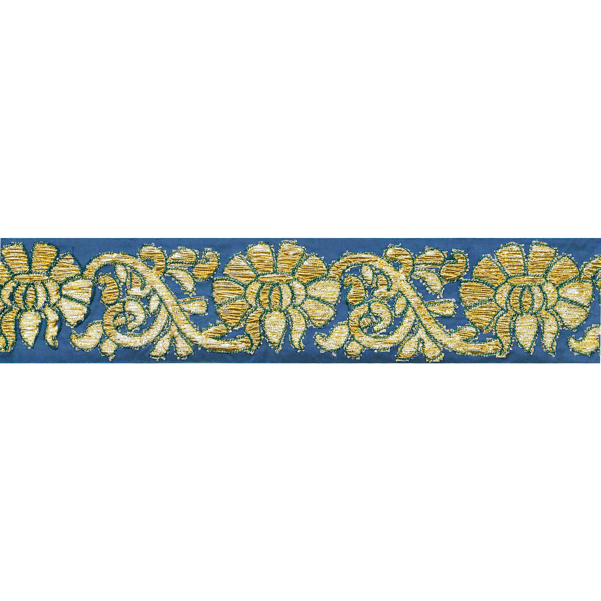 Dutch-Blue Fabric Border with Floral Embroidery in Golden Thread