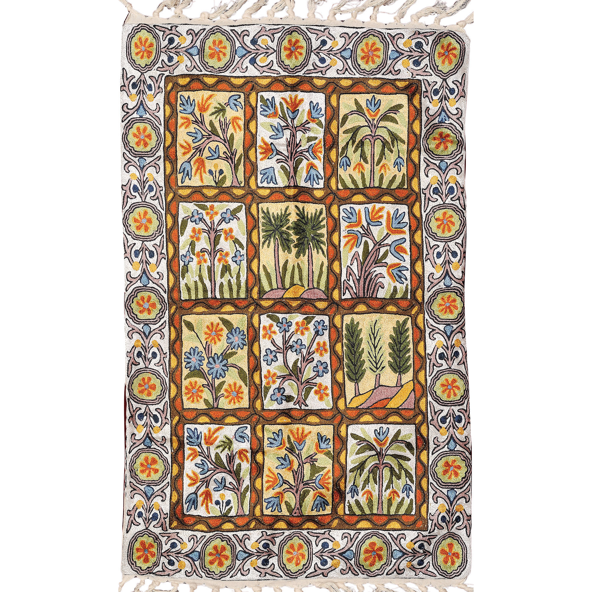 Star-White Islamic Prayer Rug with Embroidered Trees