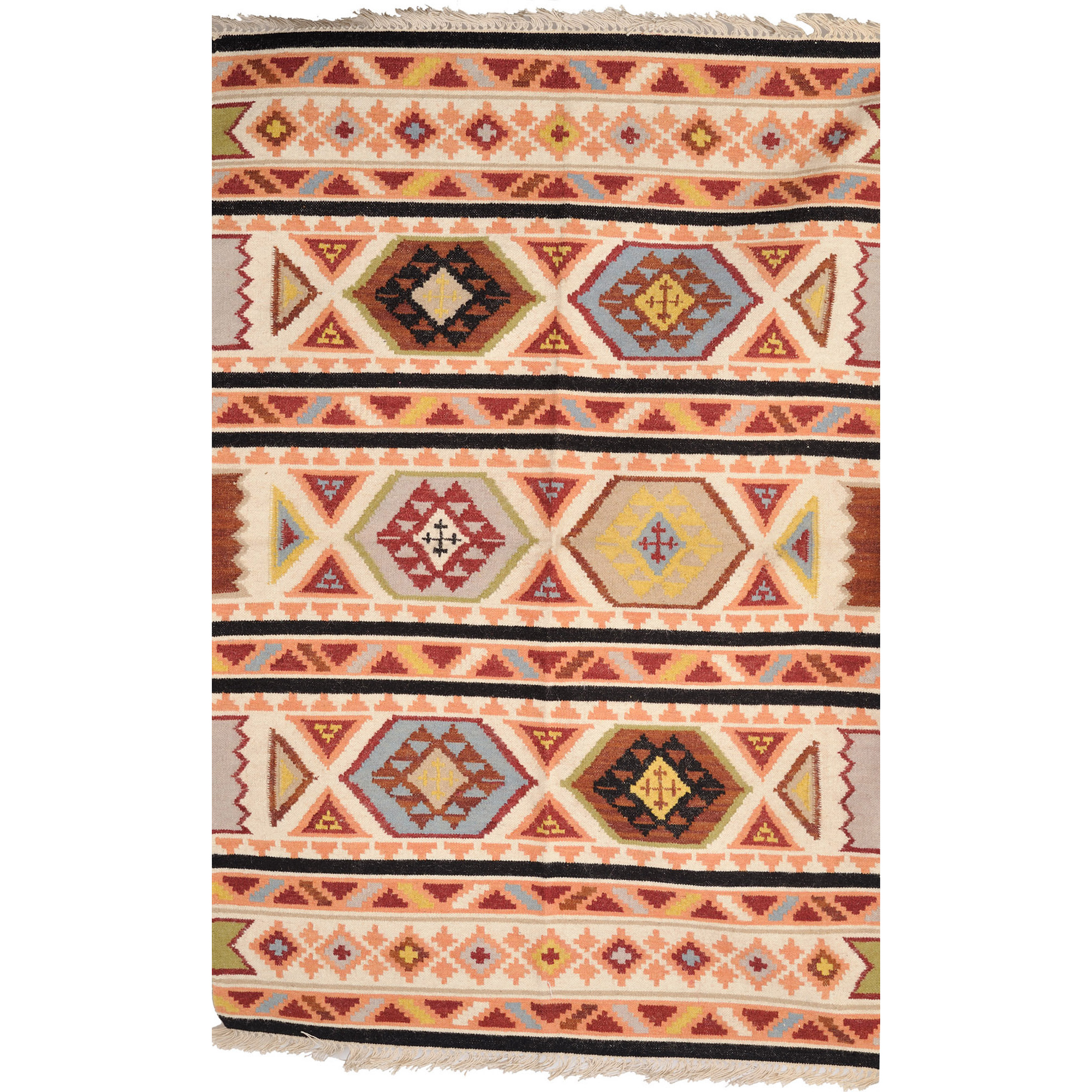 Ivory Handloom Dhurrie from Sitapur with Woven Motifs in Multi-color Thread