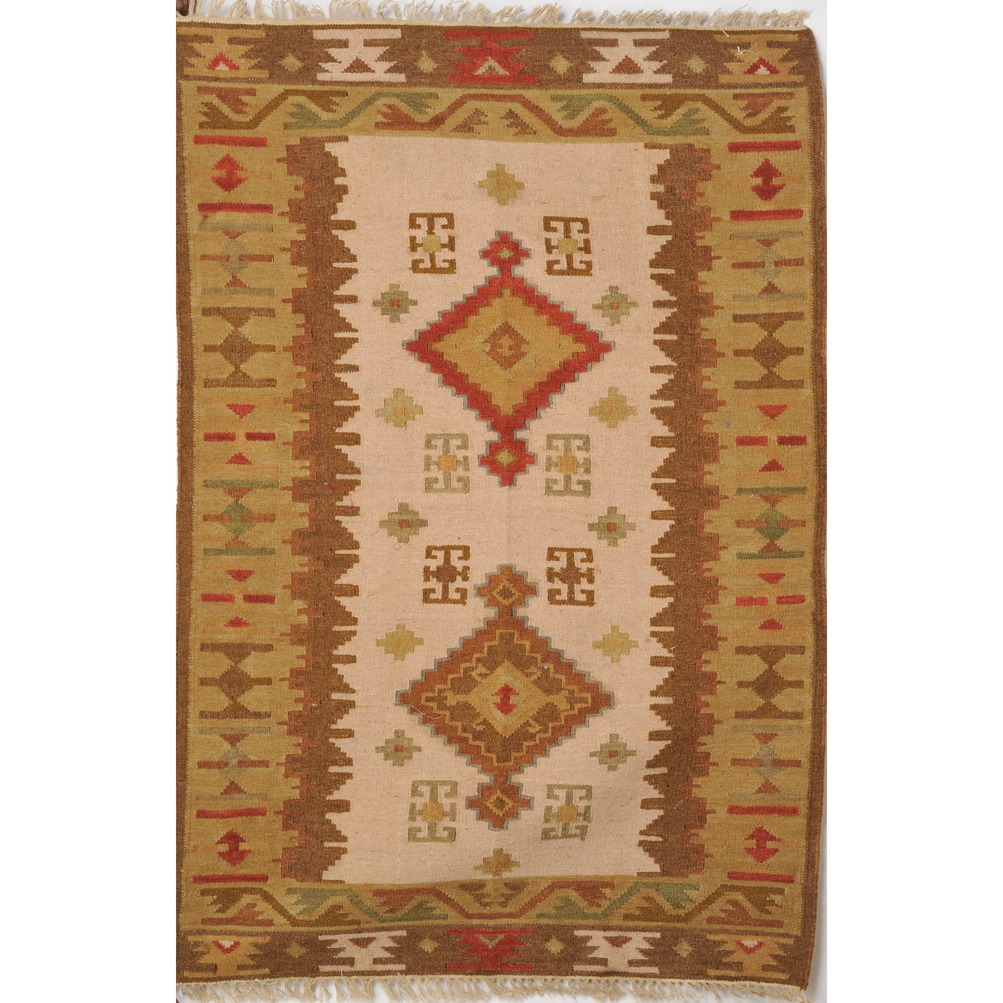 Beige and Brown Handloom Dhurrie from Sitapur with Woven Motifs
