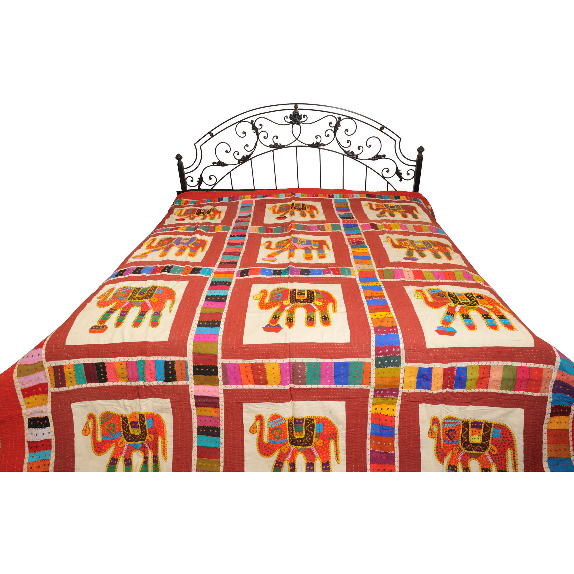 Bedcover from Jodhpur with Applique Elephants and Kantha Stitch