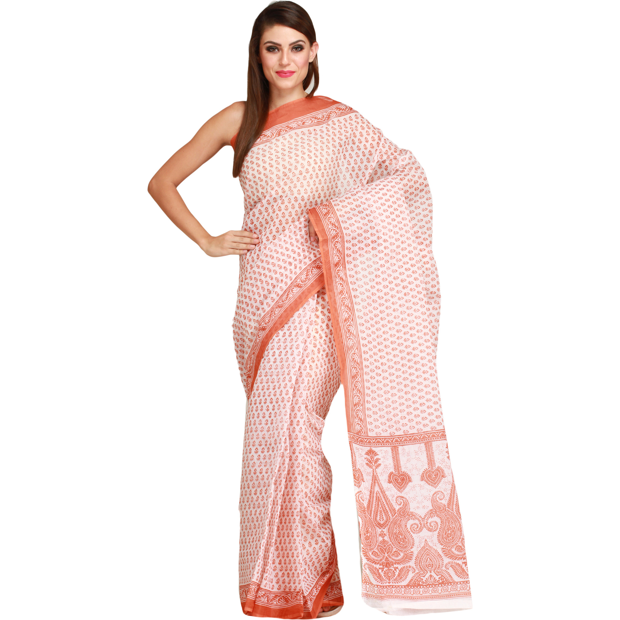 White and Brown Sari with All-Over Printed Bootis and Paisleys on Pallu