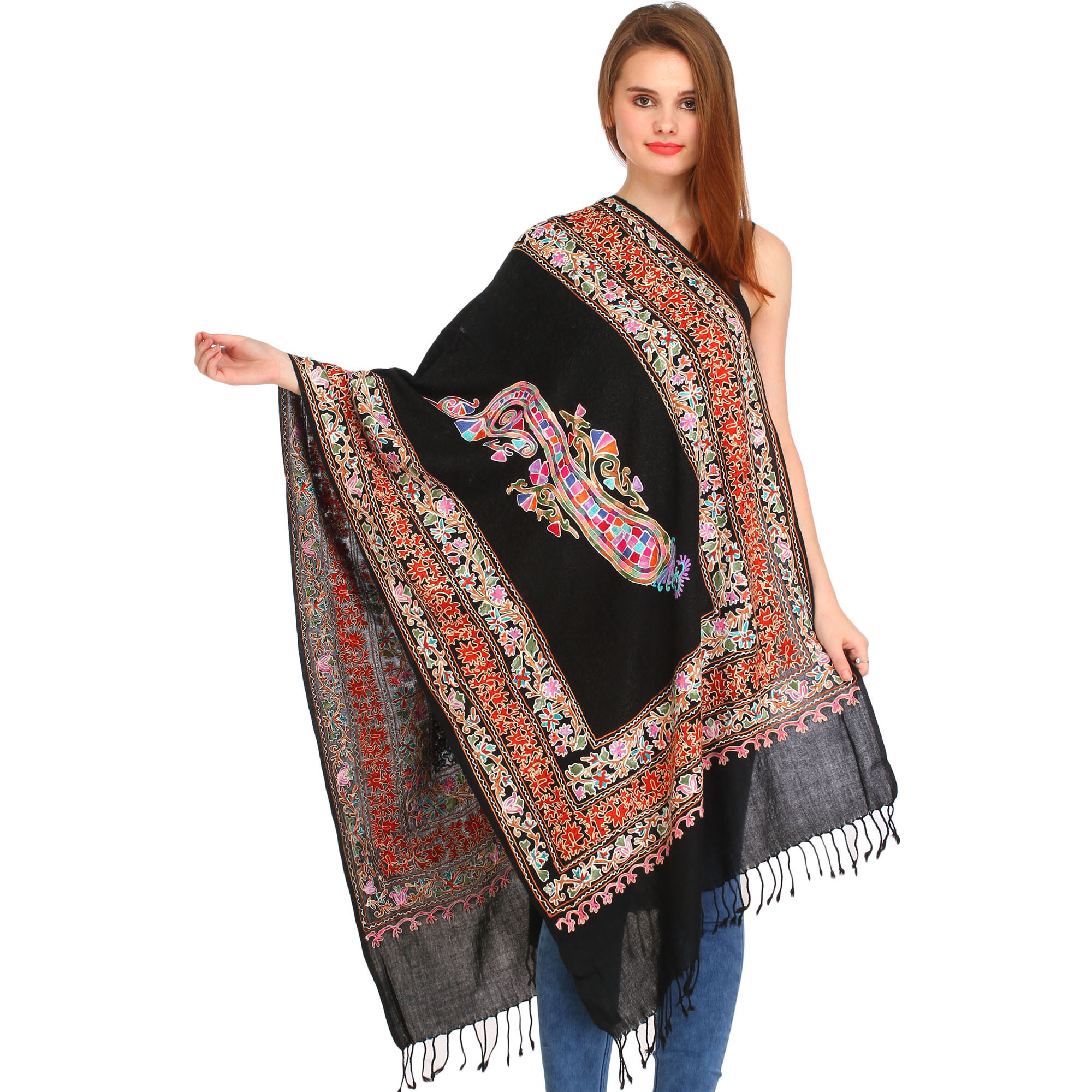 Jet-Black Kalamkari Stole from Amritsar with Ari-Embroidery and Paisley
