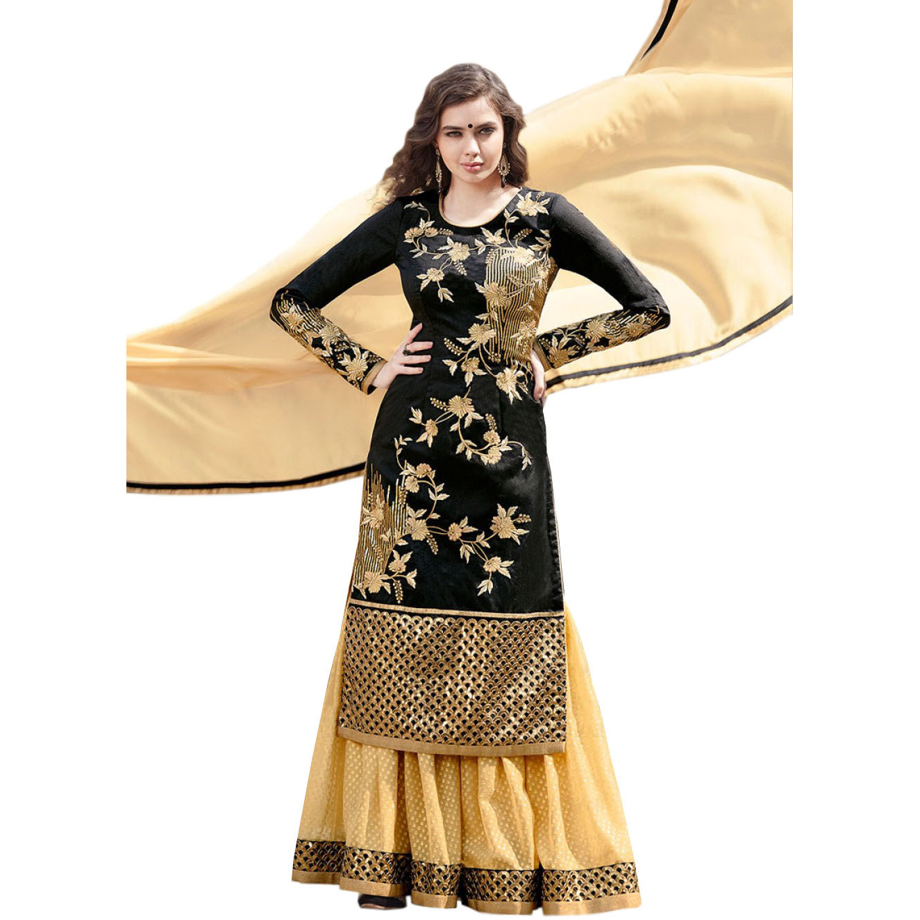 Black and Beige Designer Sharara Salwar Suit with Floral Zari-Embroidery and Sequins