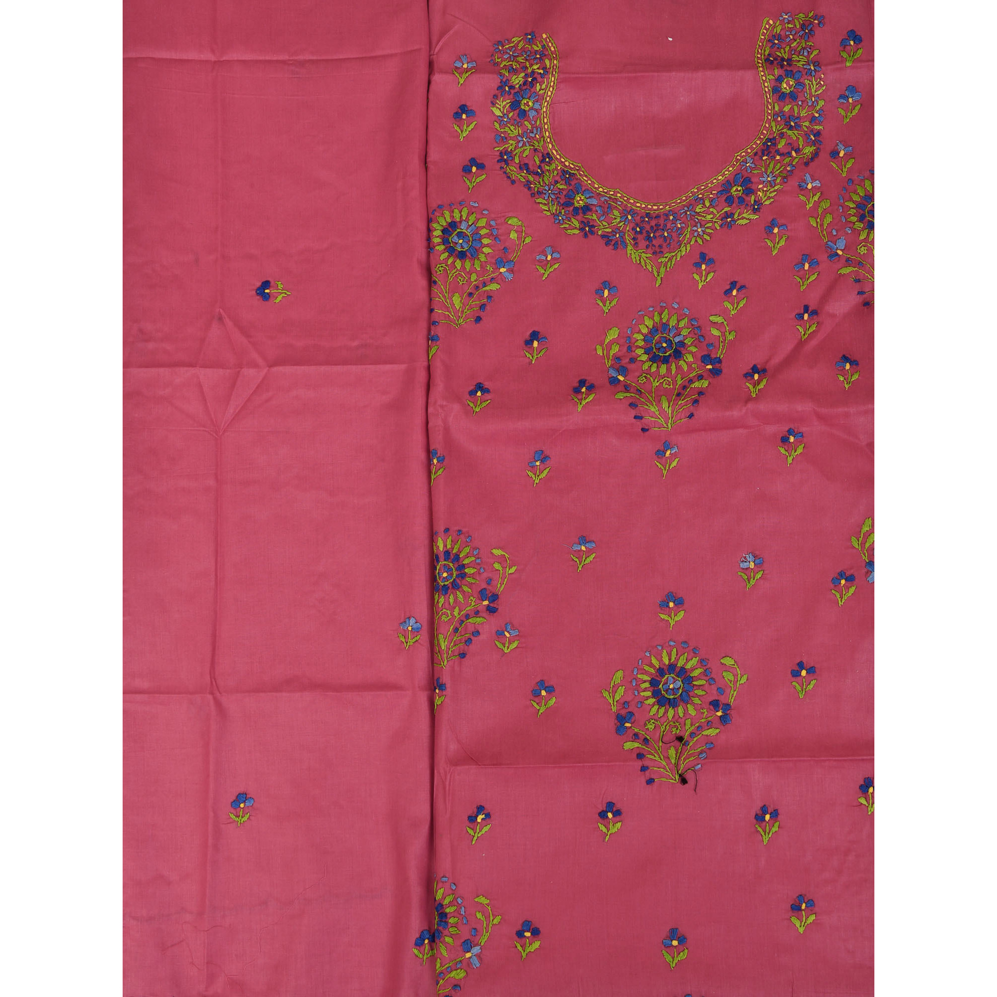 Rose-Wine Floral-Embroidered Salwar Kameez Fabric from Kolkata