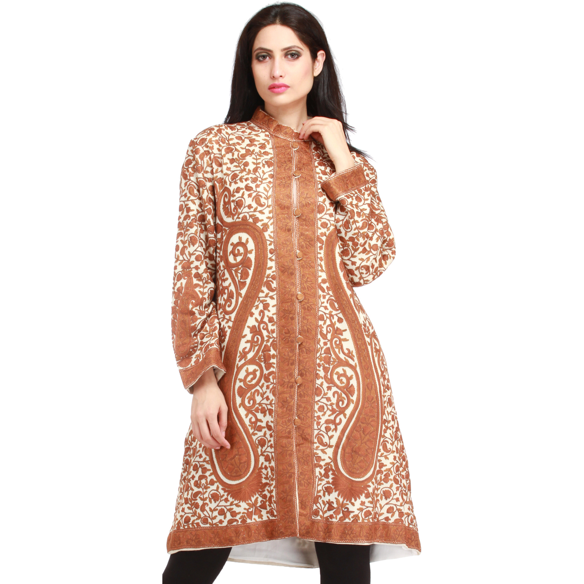 Ivory and Brown Kashmiri Long Jacket with All-Over Hand-Embroidered Paisleys