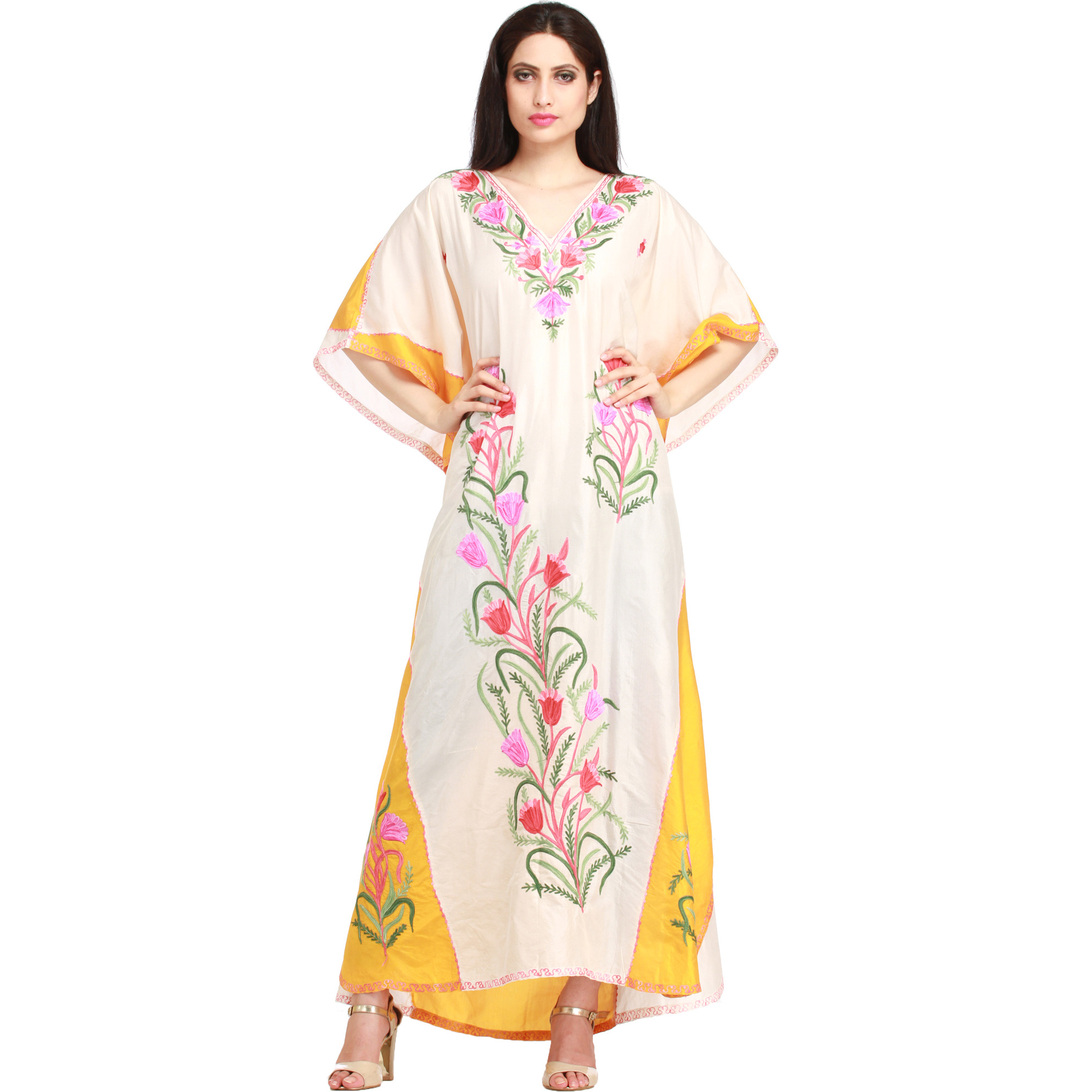 Powder-Puff and Yellow Kaftan from Kashmir with Floral Ari-Embroidery