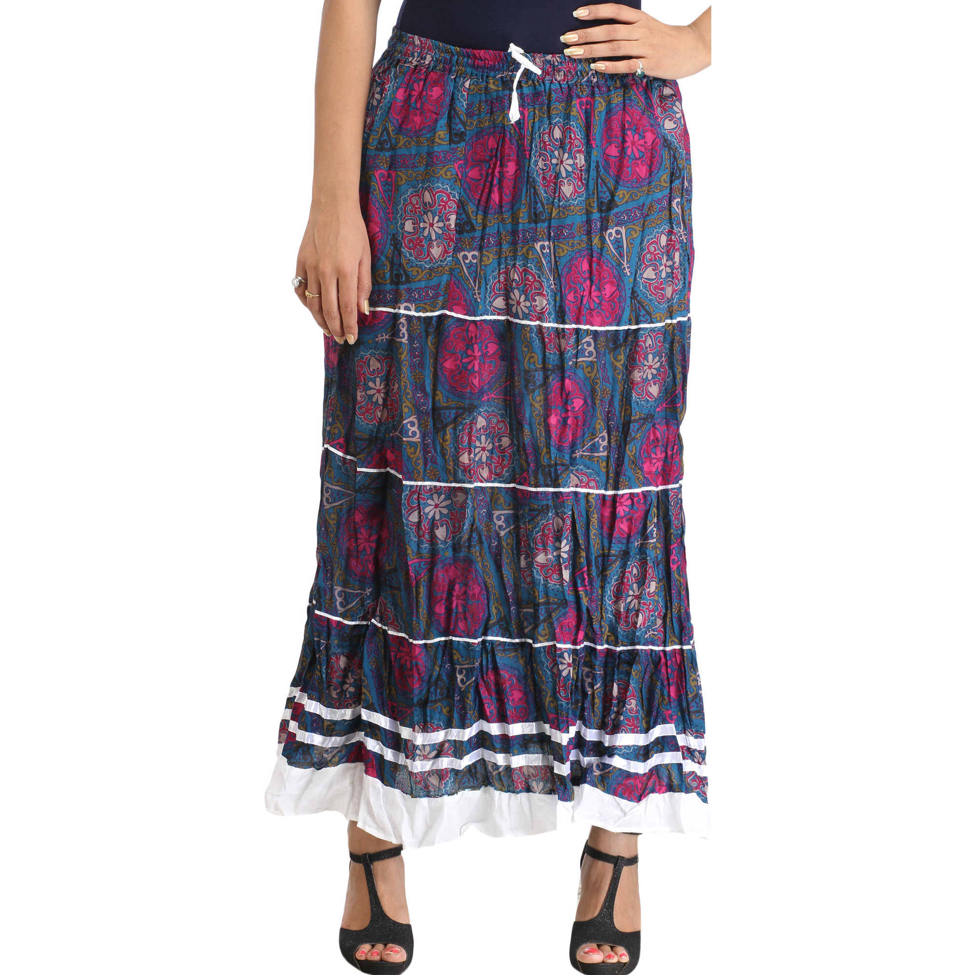 Blue and Purple Long Skirt with Floral-Print and Ribbons