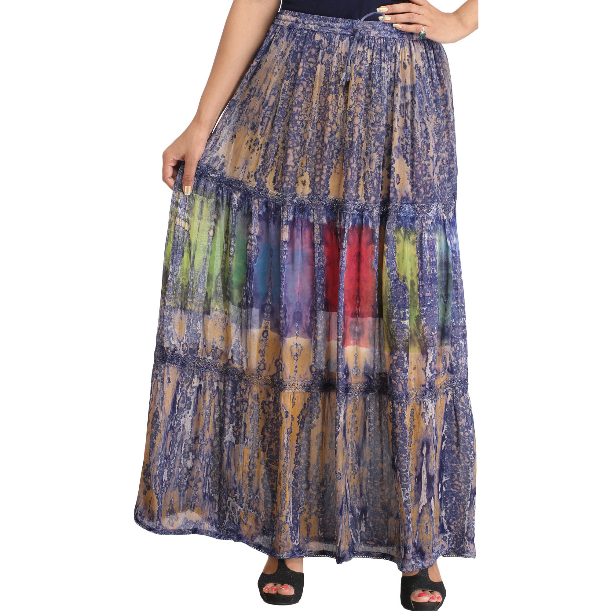 Blue and Beige Batik-Dyed Long Skirt with Lace