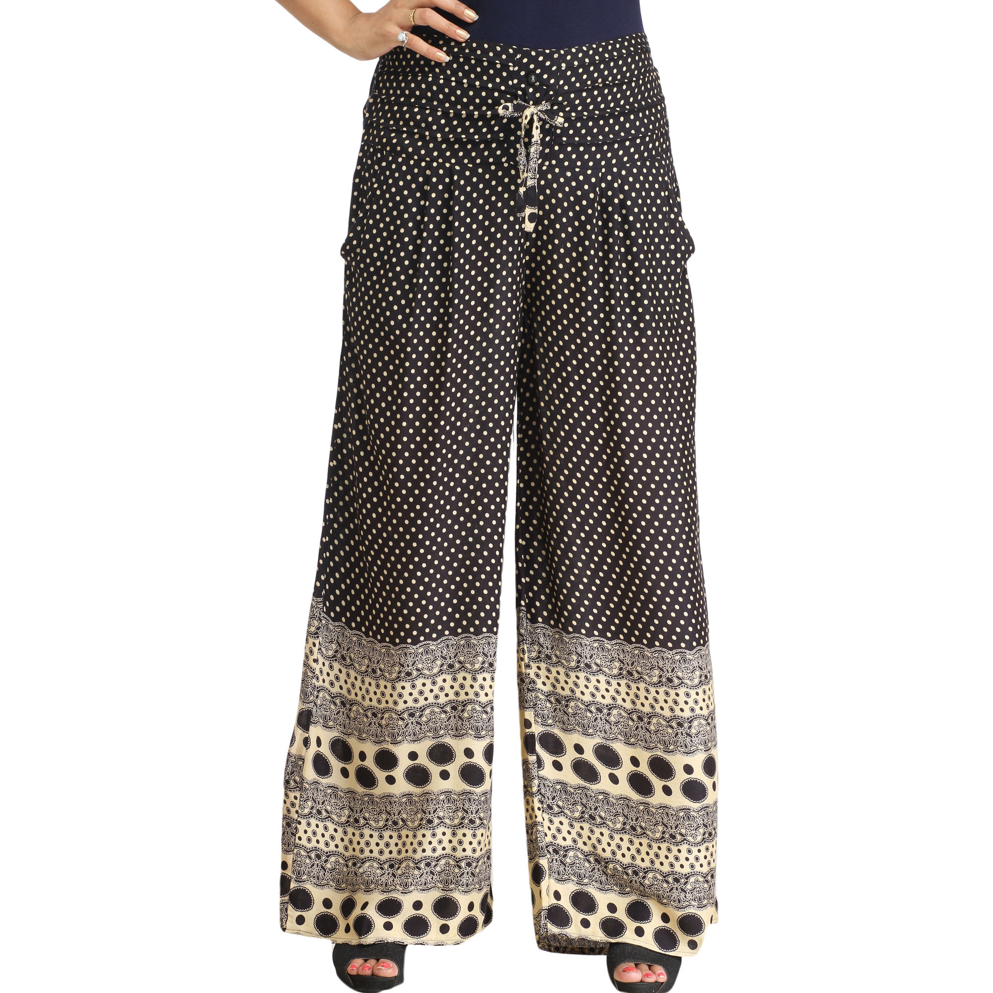 Black and Cream Casual Palazzo Pants with Printed Polka Dots and Side Pockets
