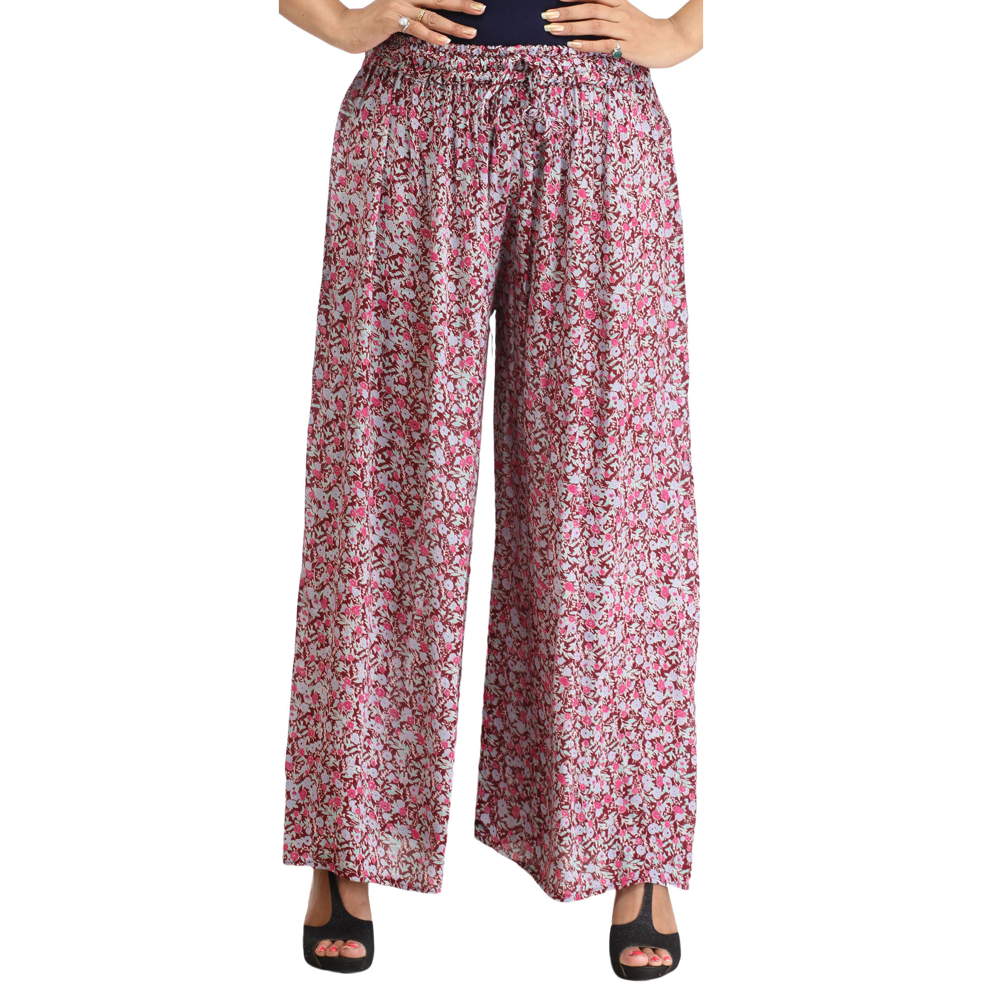 Windsor-Wine Floral Printed Casual Palazzo Pants