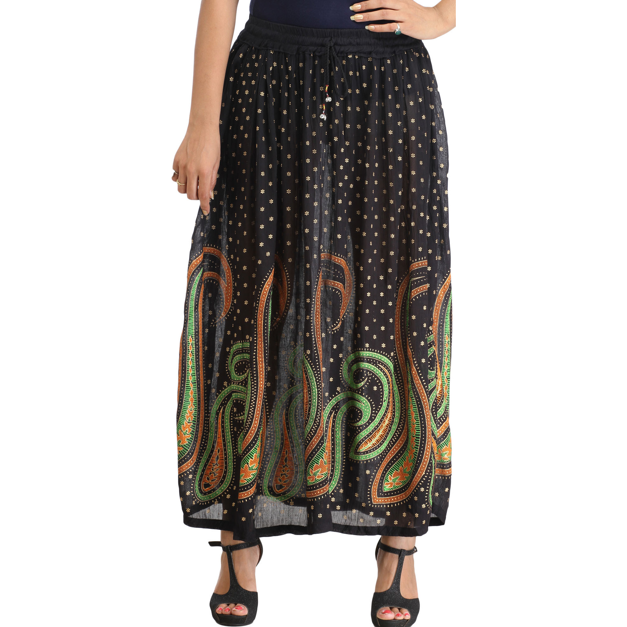 Jet-Black Long Elastic Skirt with Printed Paisleys and Bootis