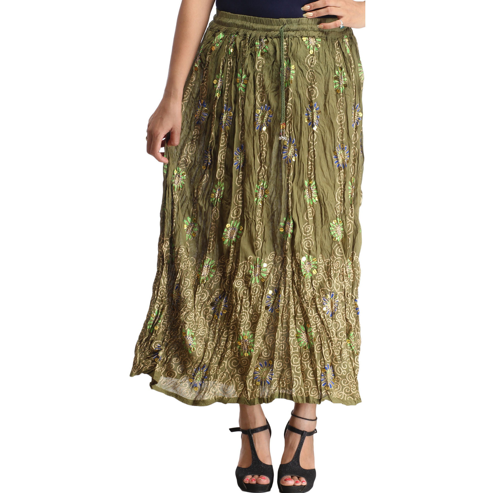 Calliste-Green Crinkled Long Skirt with Printed Spirals and Sequins