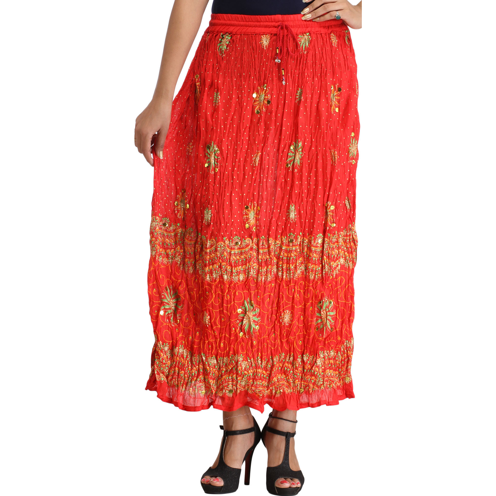 Lollipop-Red Crinkled Long Skirt with Printed Flowers and Sequins