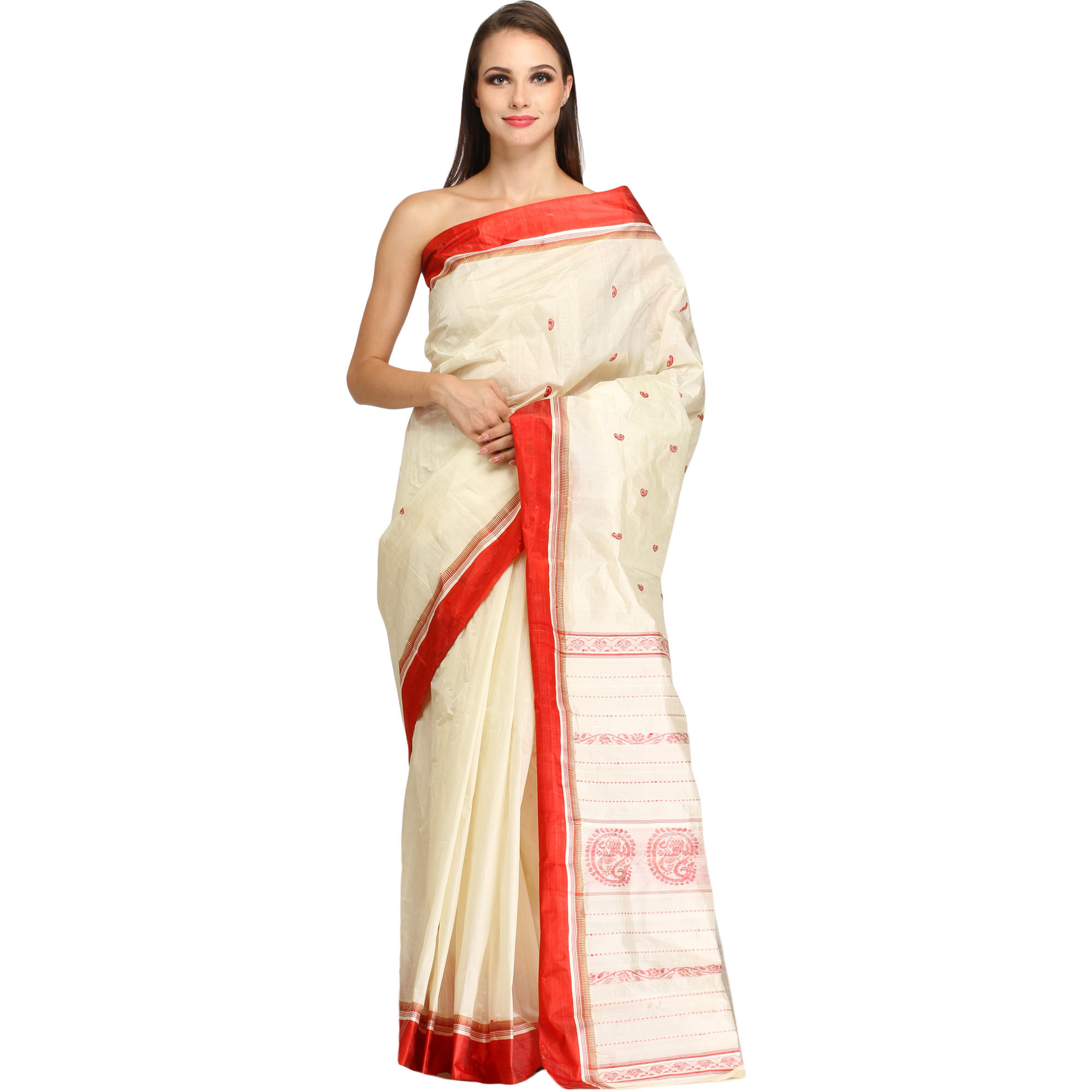 Ivory Garad Sari from Gandhi Ashram with Woven Bootis and Solid Border