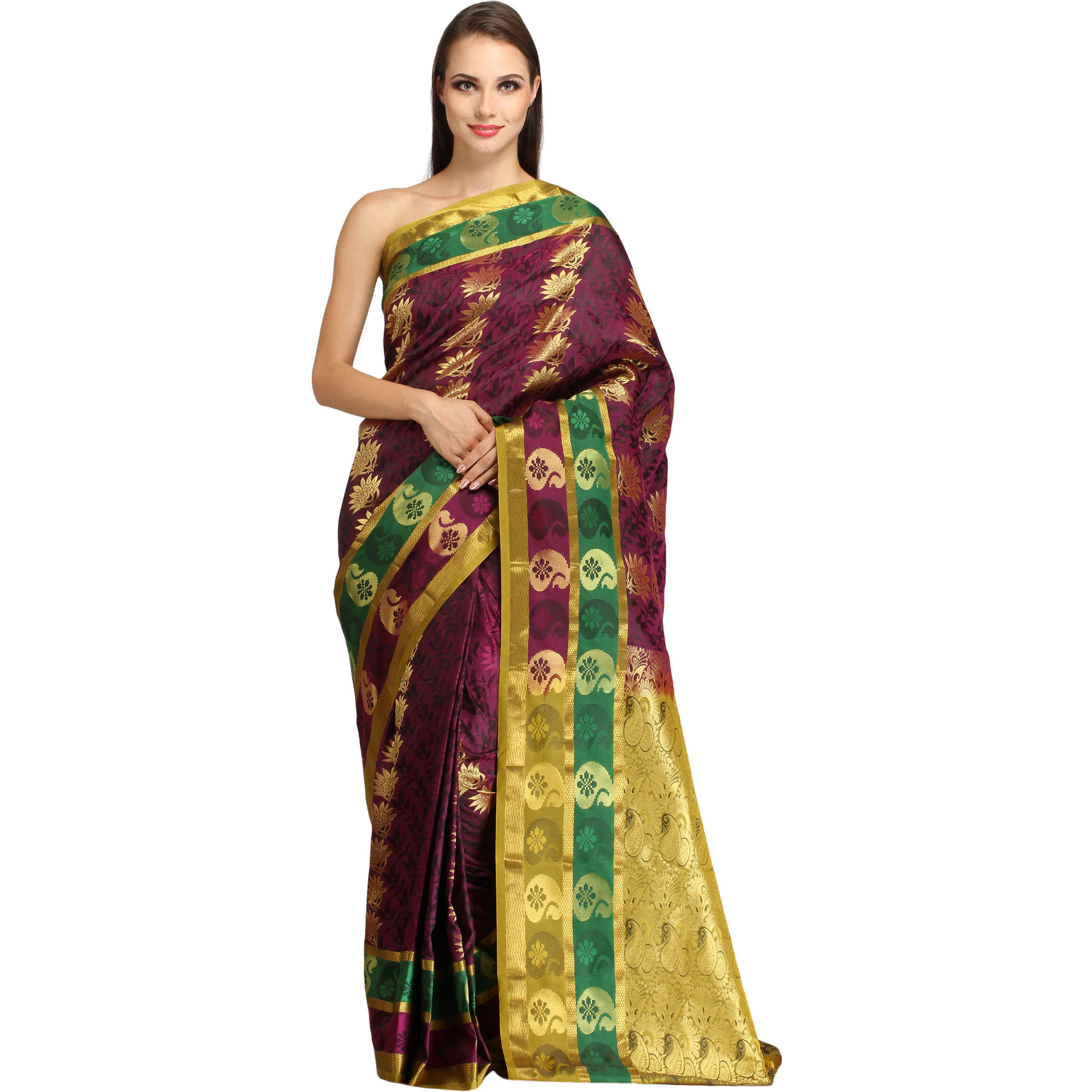 Dark-Purple and Golden Self Weave Sari from Bangalore with Zari-Woven Flowers and Brocaded Pallu