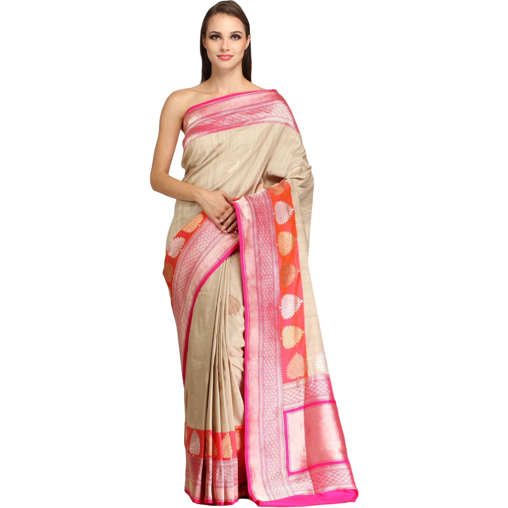 Sandshell and Pink Sari from Banaras with Zari-Woven Trees on Border and Brocaded Pallu