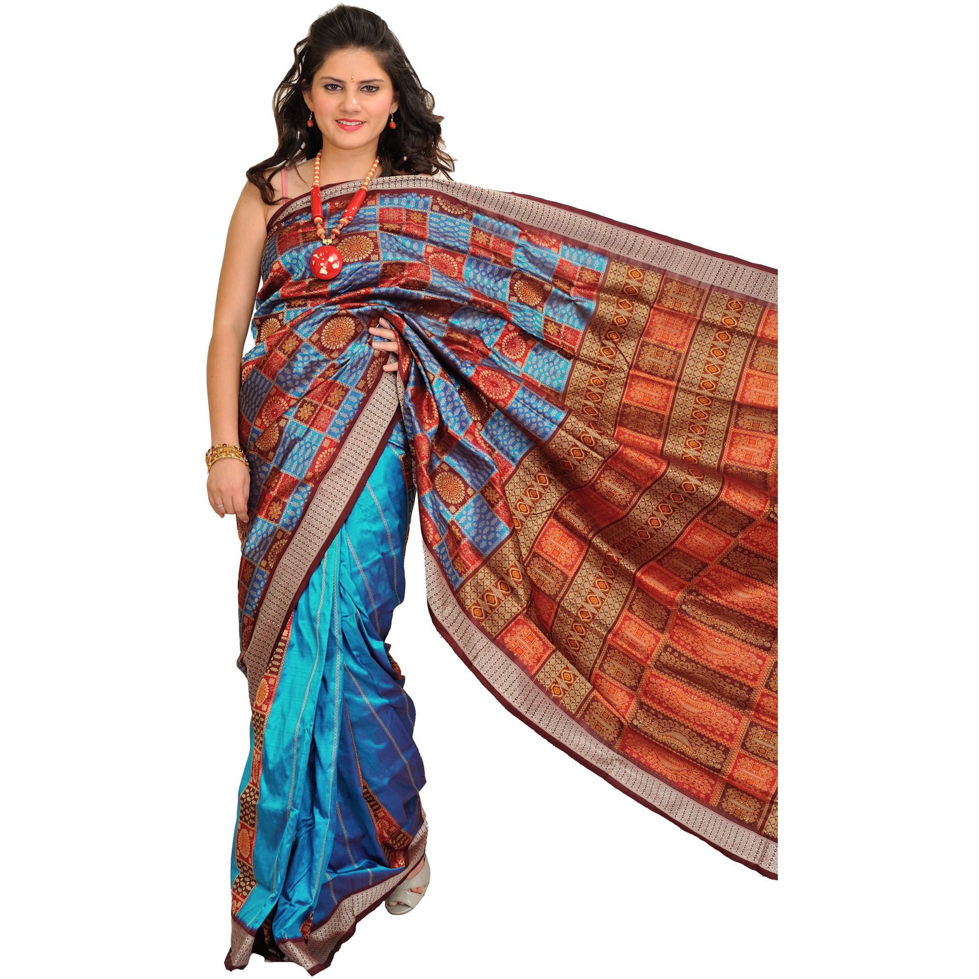 Methyl-Blue Bomkai Handloom Sari from Orissa with Woven Motifs