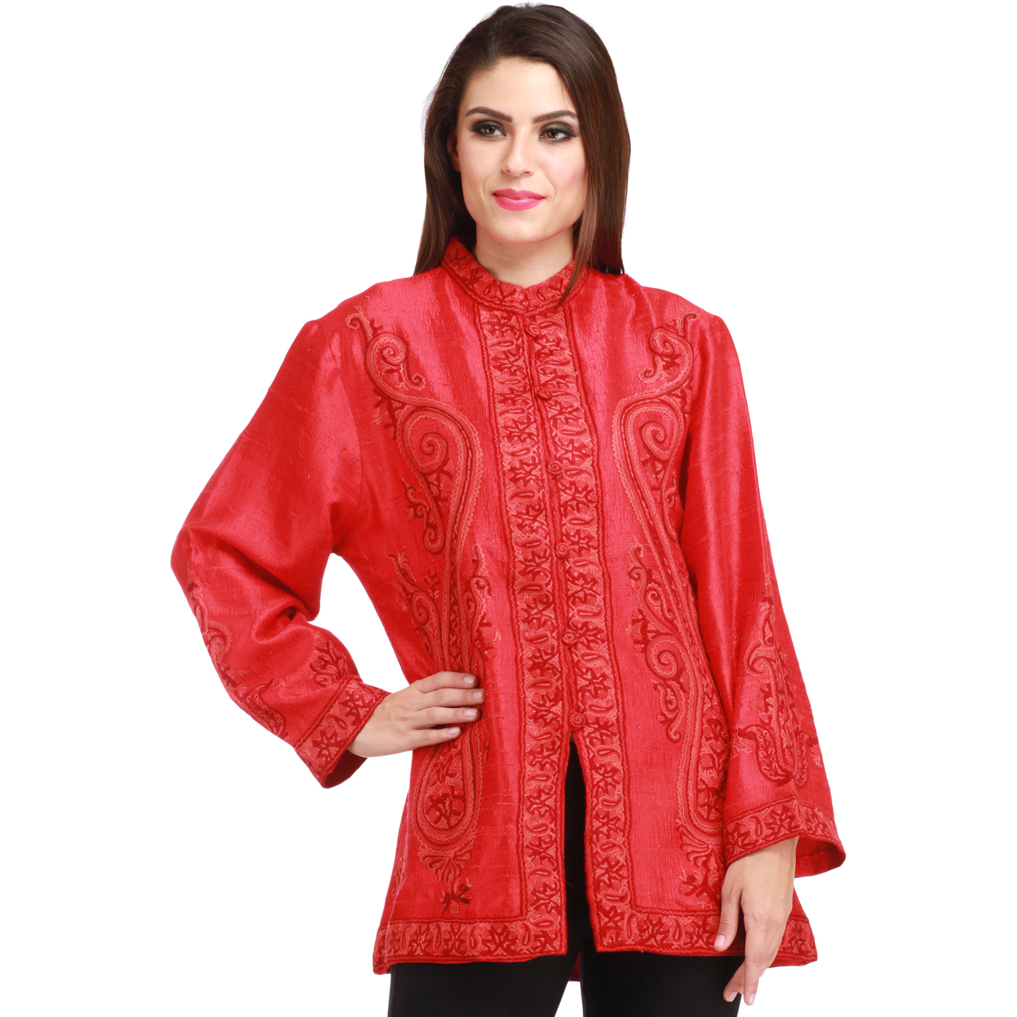 Tomato-Red Kashmiri Jacket with Ari Hand-Embroidered Paisleys