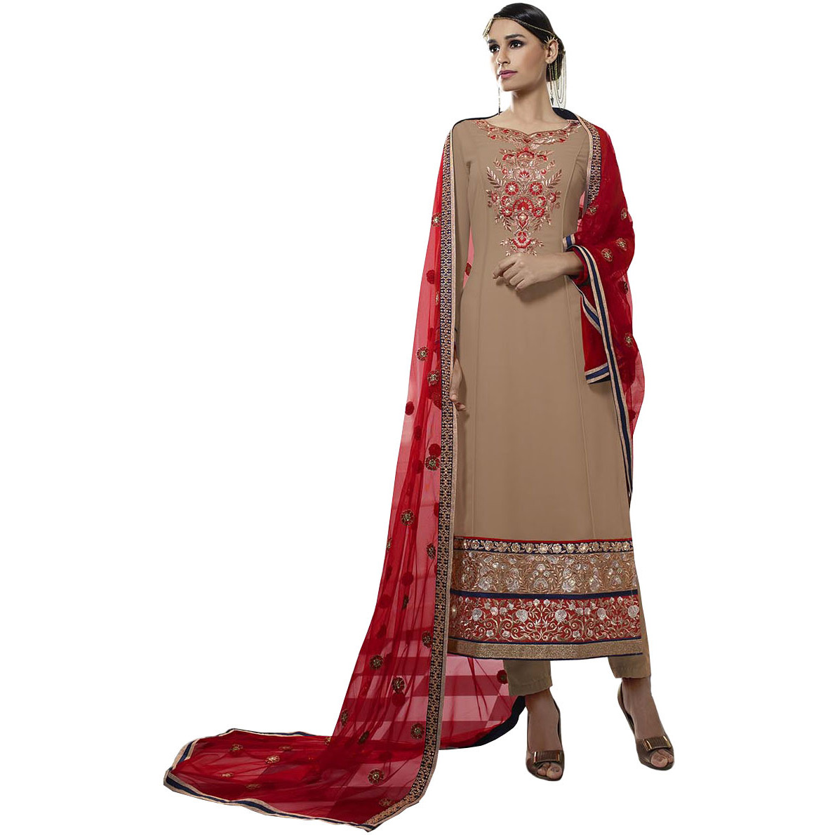 Beige and Red Long Parallel Salwar Suit with Embroidery in Zari and Net Dupatta