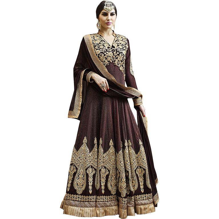 Bitter-Chocolate Designer Floor Length Anarkali Suit with Zari-Embroidered Patches and Stone-work
