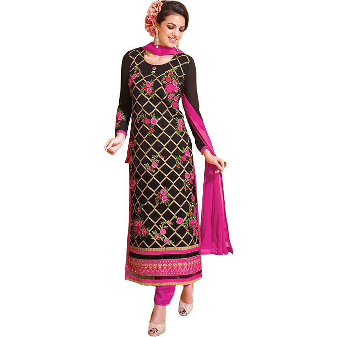 Black and Pink Long Choodidaar Kameez Suit with Zari-Embroidery and Mirrors on Border