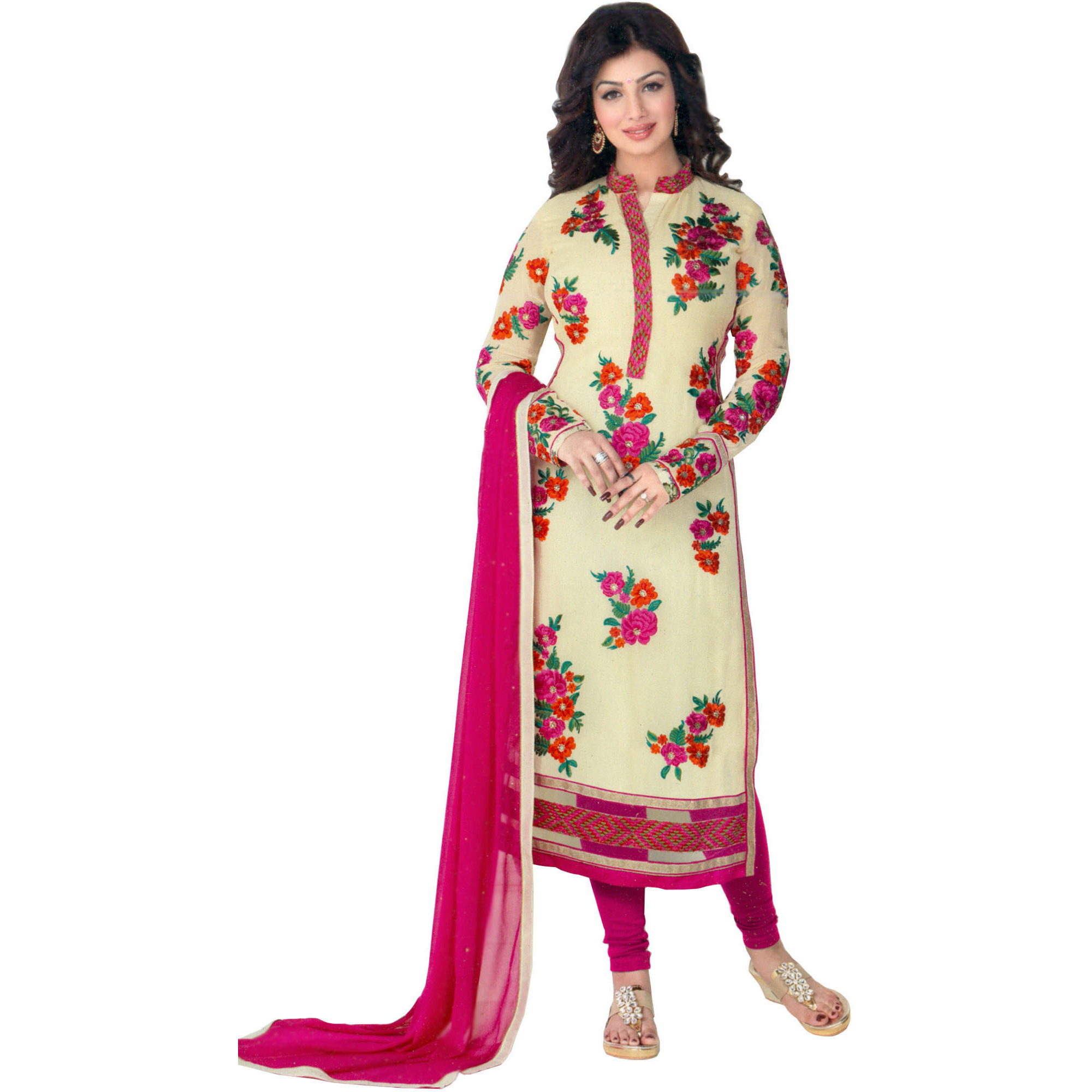 Ivory and Pink Ayesha Long Choodidaar Kameez Suit with Embroidered Flowers and Net Border
