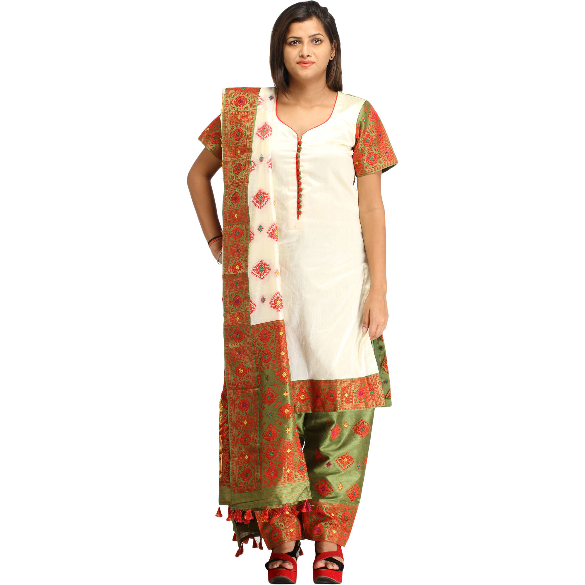 Ivory and Green Salwar Kameez Suit from Assam with Woven Floral Motifs
