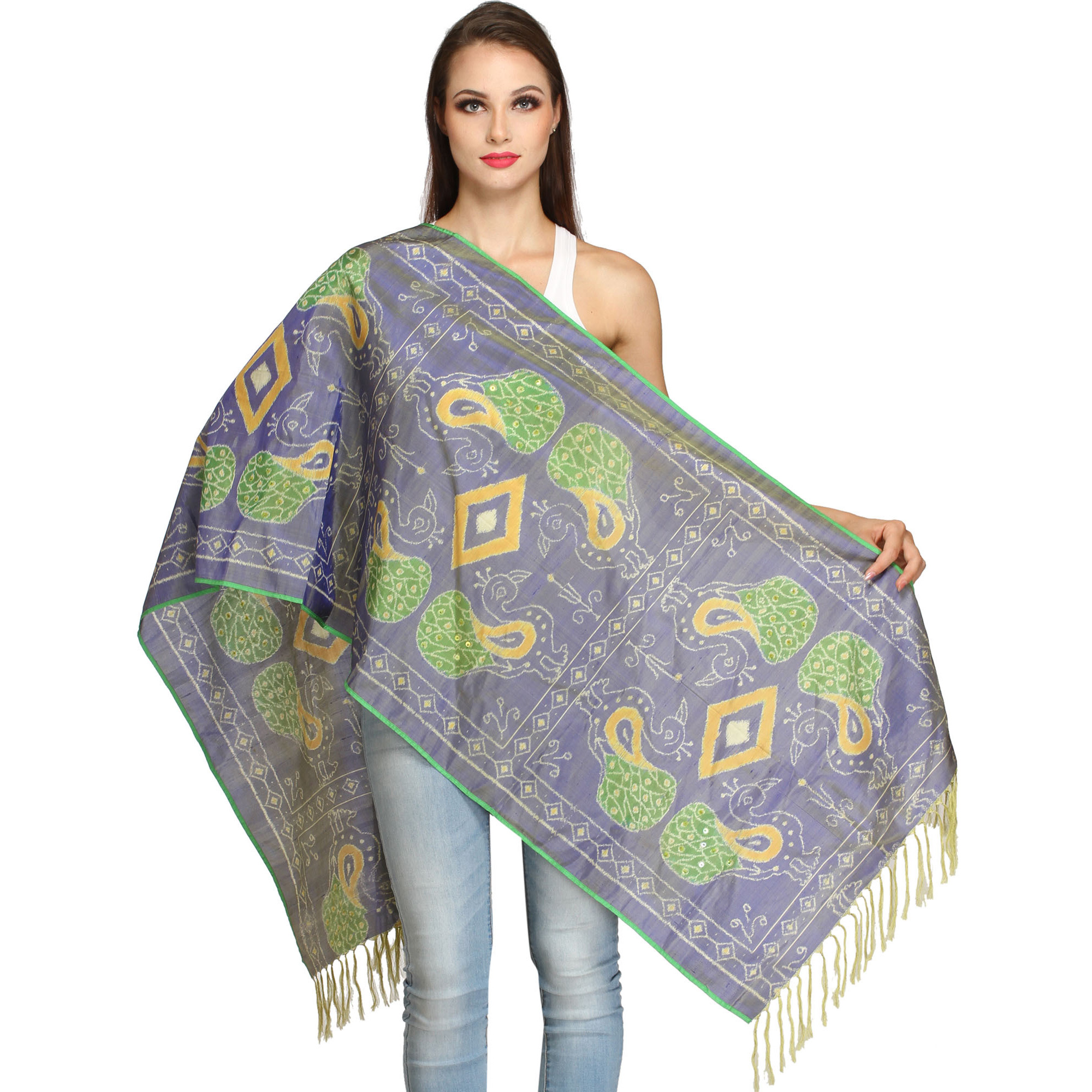 Tempest-Blue Handloom Stole with Ikat Woven Peacocks and Embroidered Beads