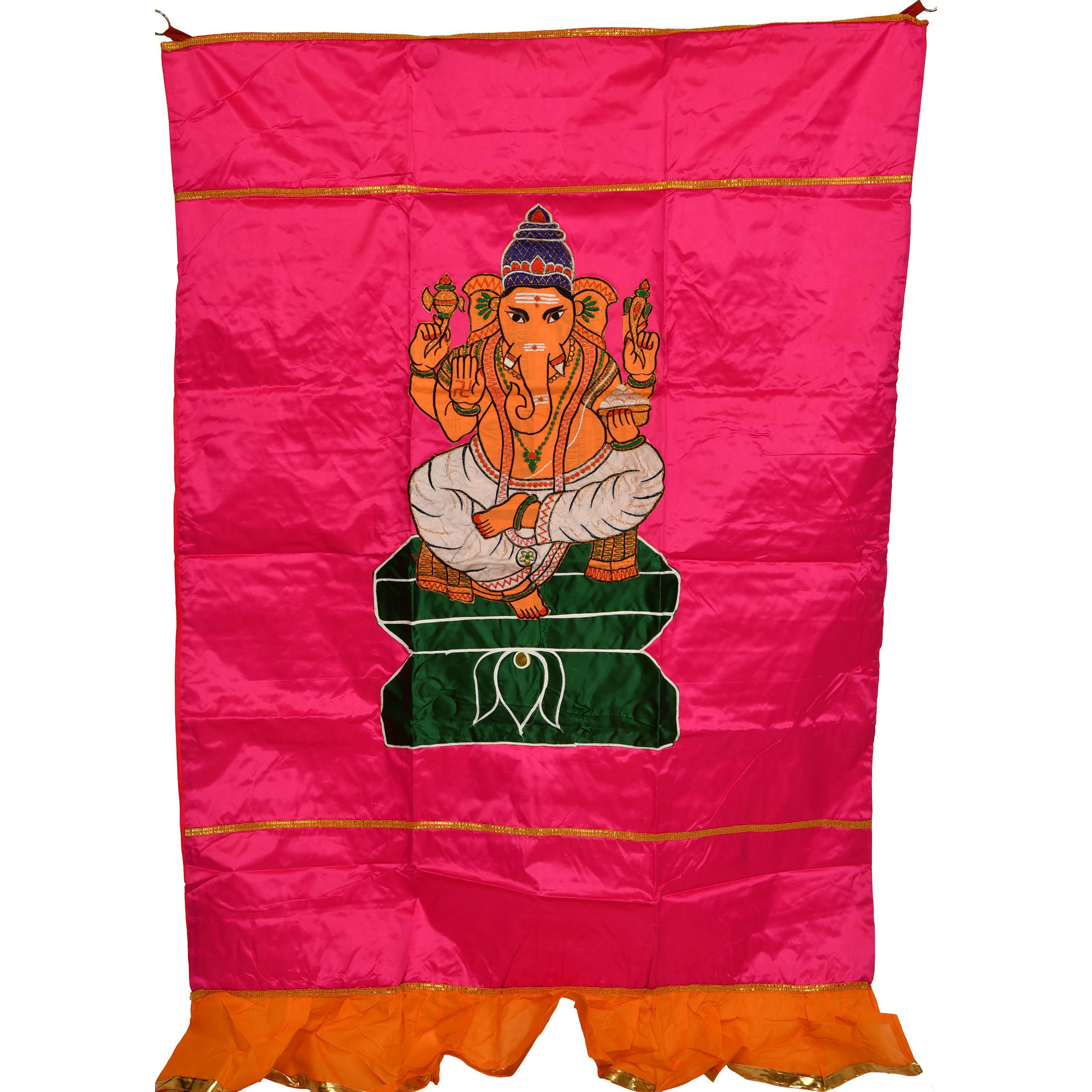 Pink Lord Ganesha Auspicious Temple Curtain