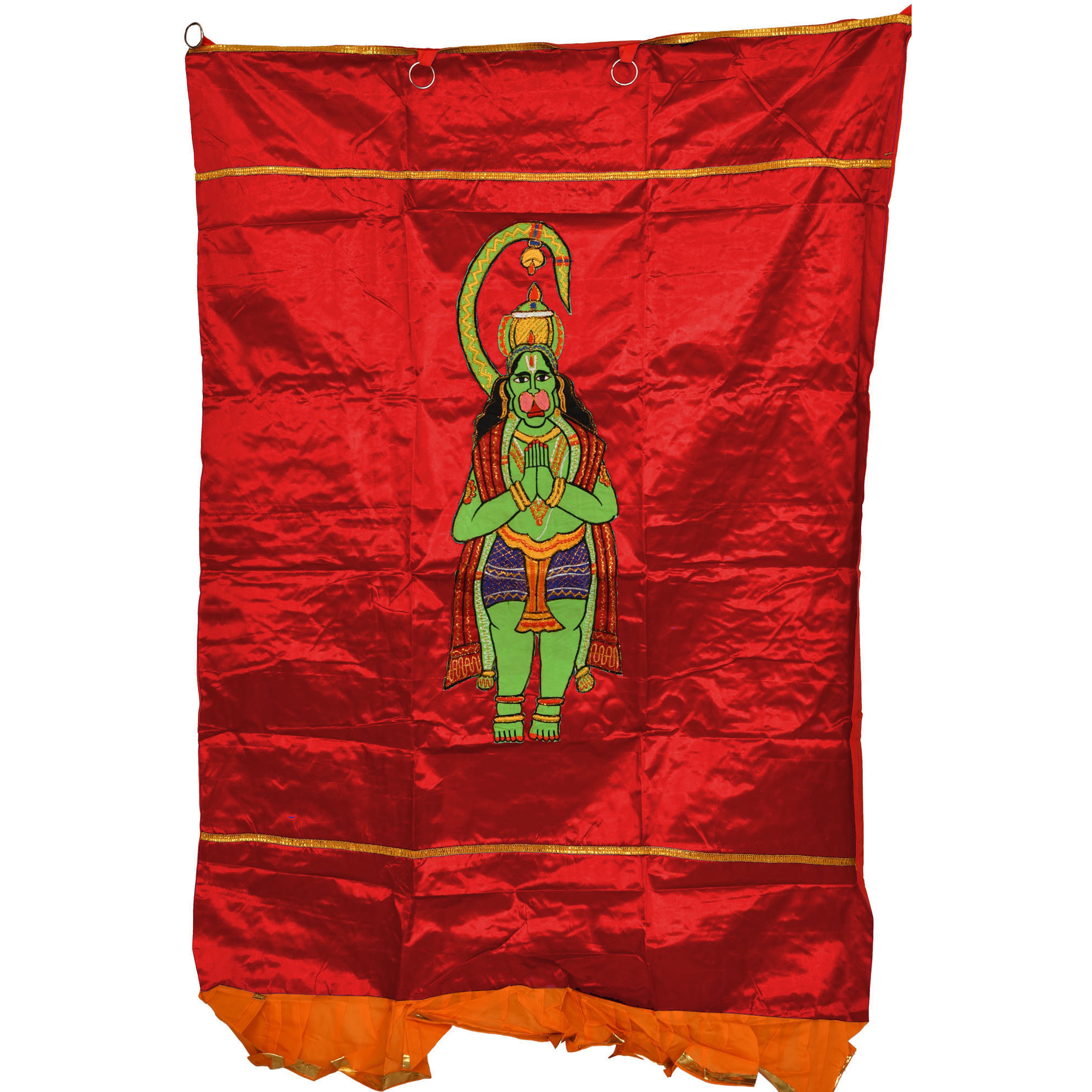 Tomato-Red Auspicious Temple Curtain with Embroidered Lord Hanuman in Applique