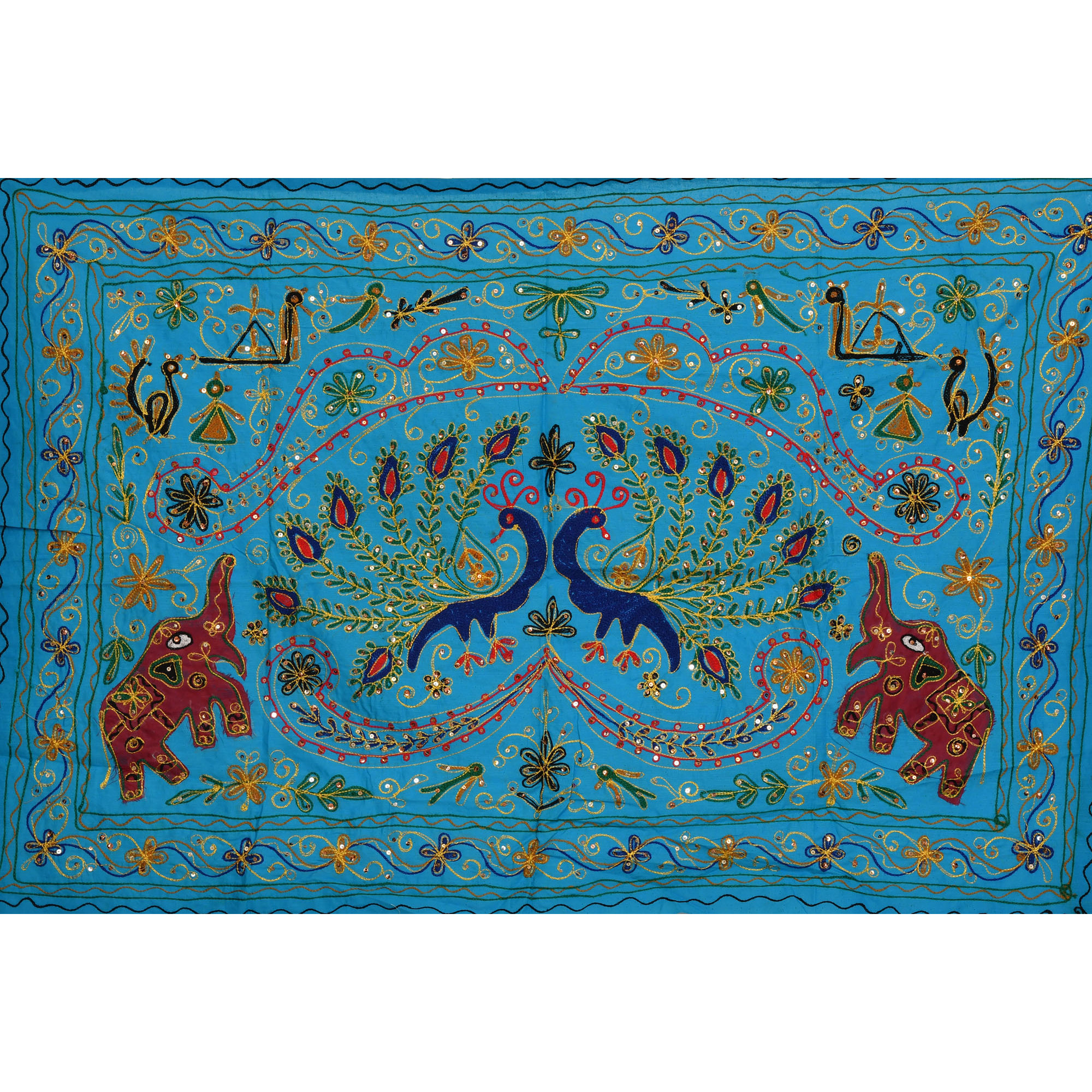 Cyan-Blue Embroidered Wall Hanging with Sequins