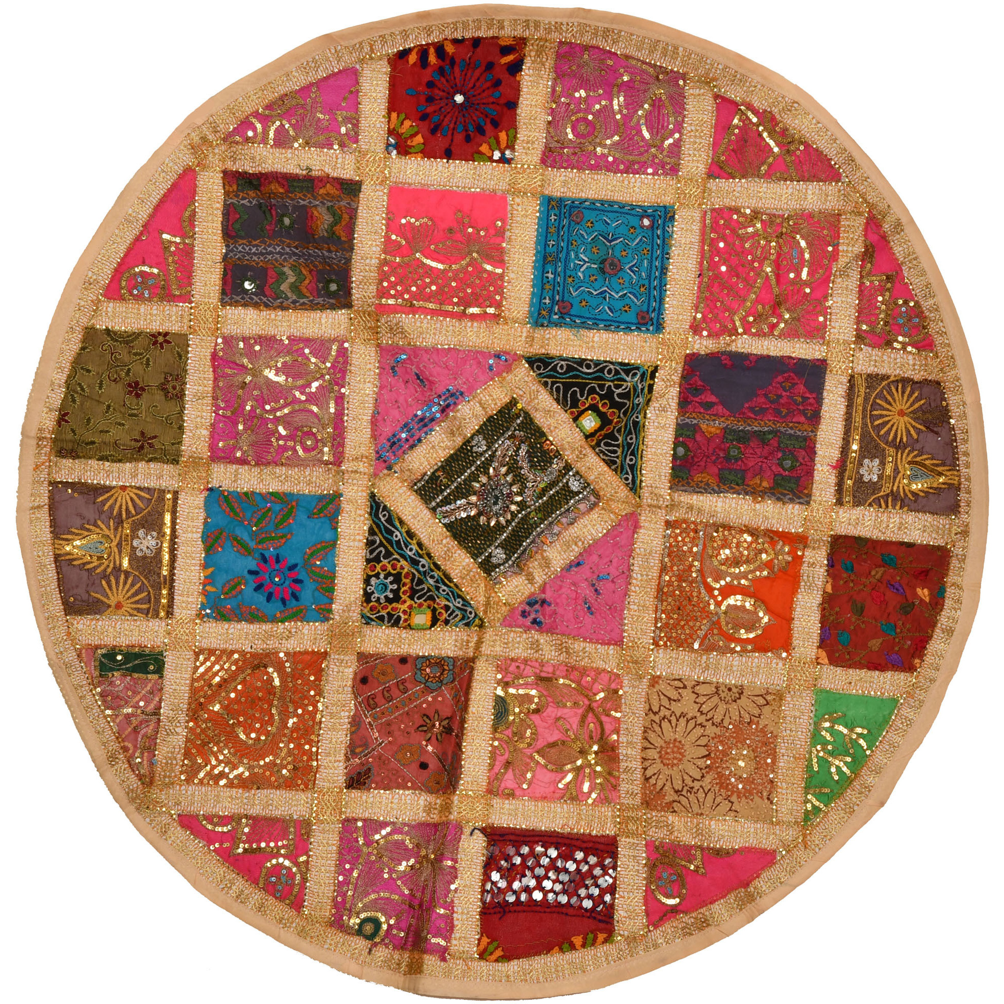 Circular Table Cover from Gujarat with Zari-Embroidered Beads and Sequins