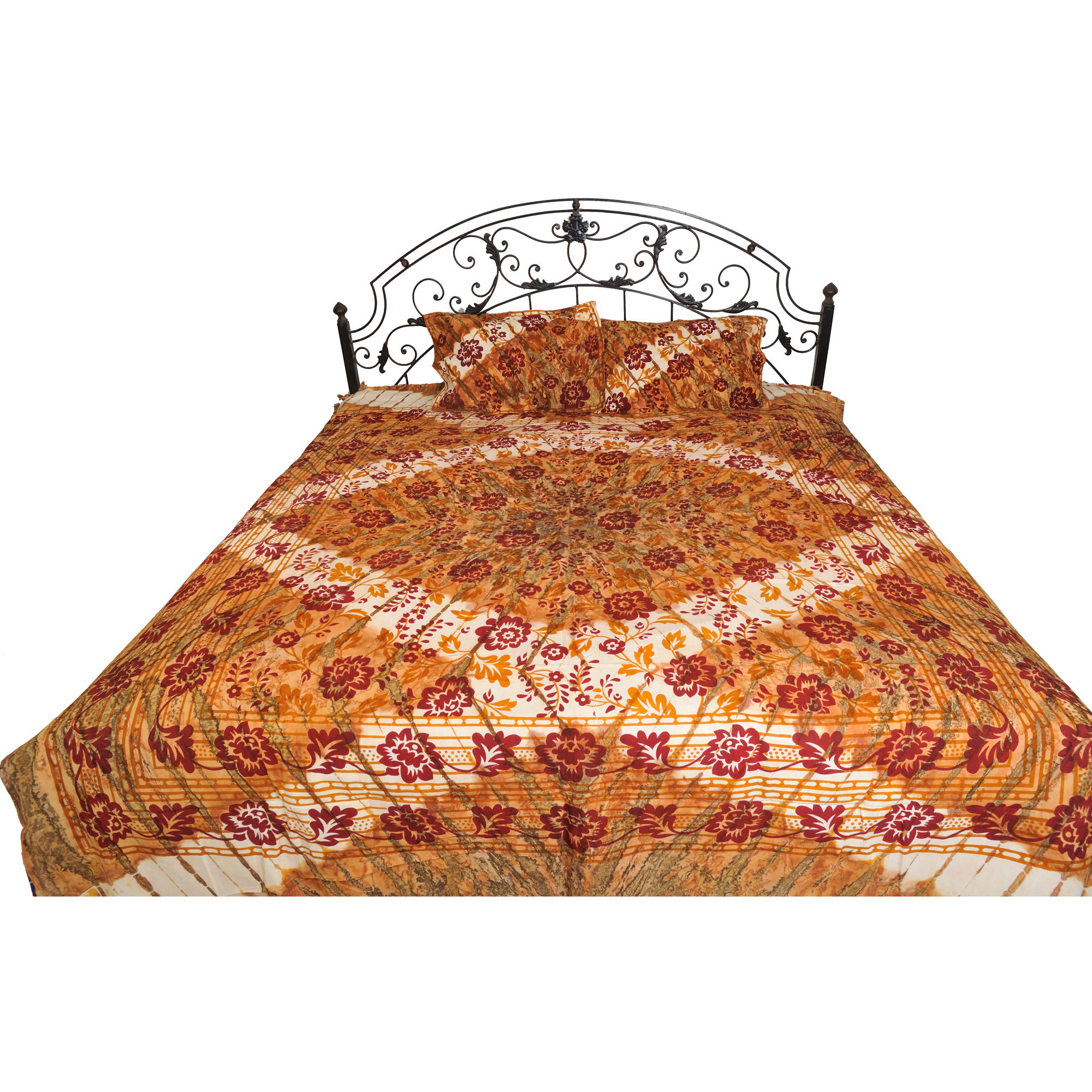 Honey-Yellow Batik-Dyed Bedspread from Pilkhuwa with Printed Flowers