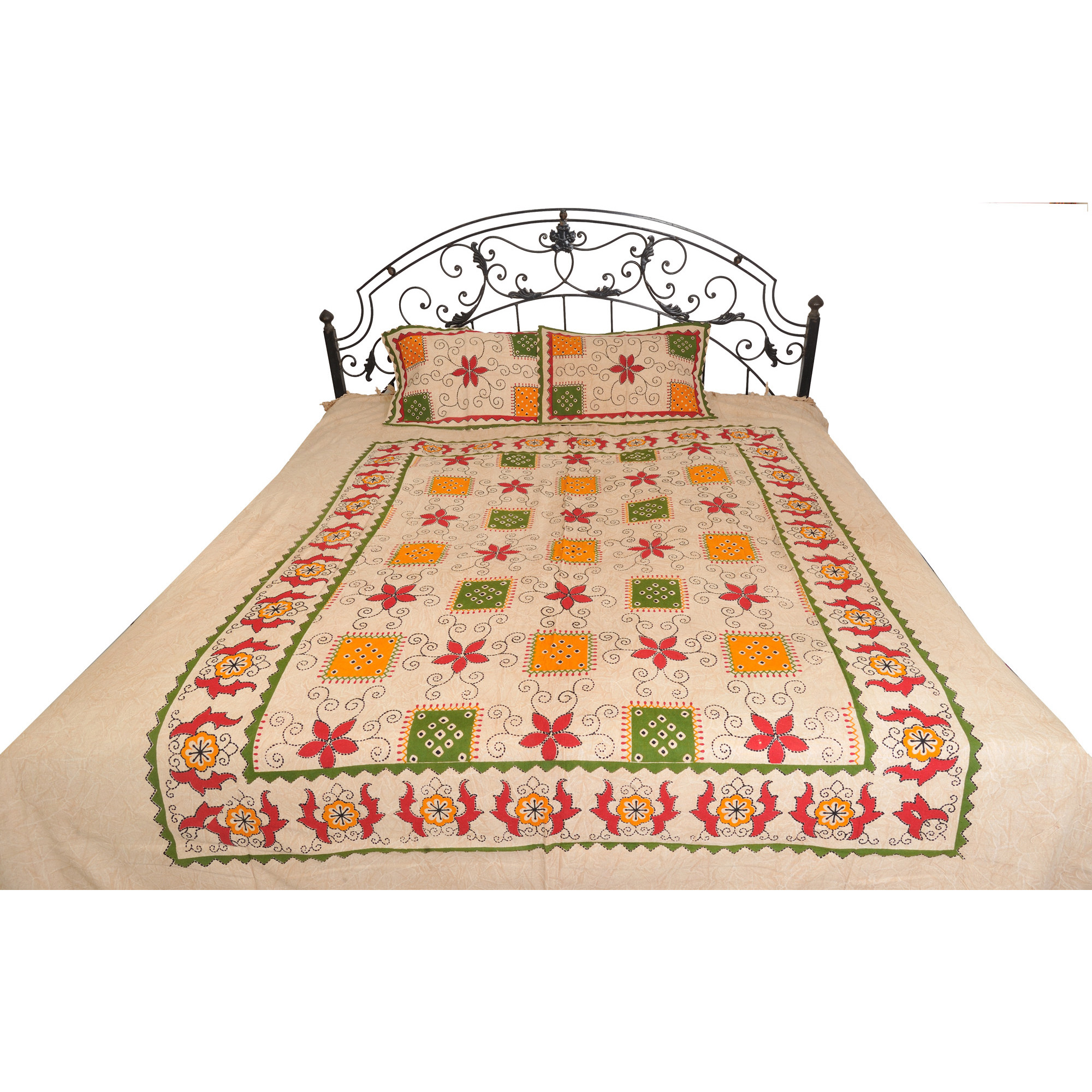 Bleached-Sand Floral Printed Bedsheet from Pilkhuwa