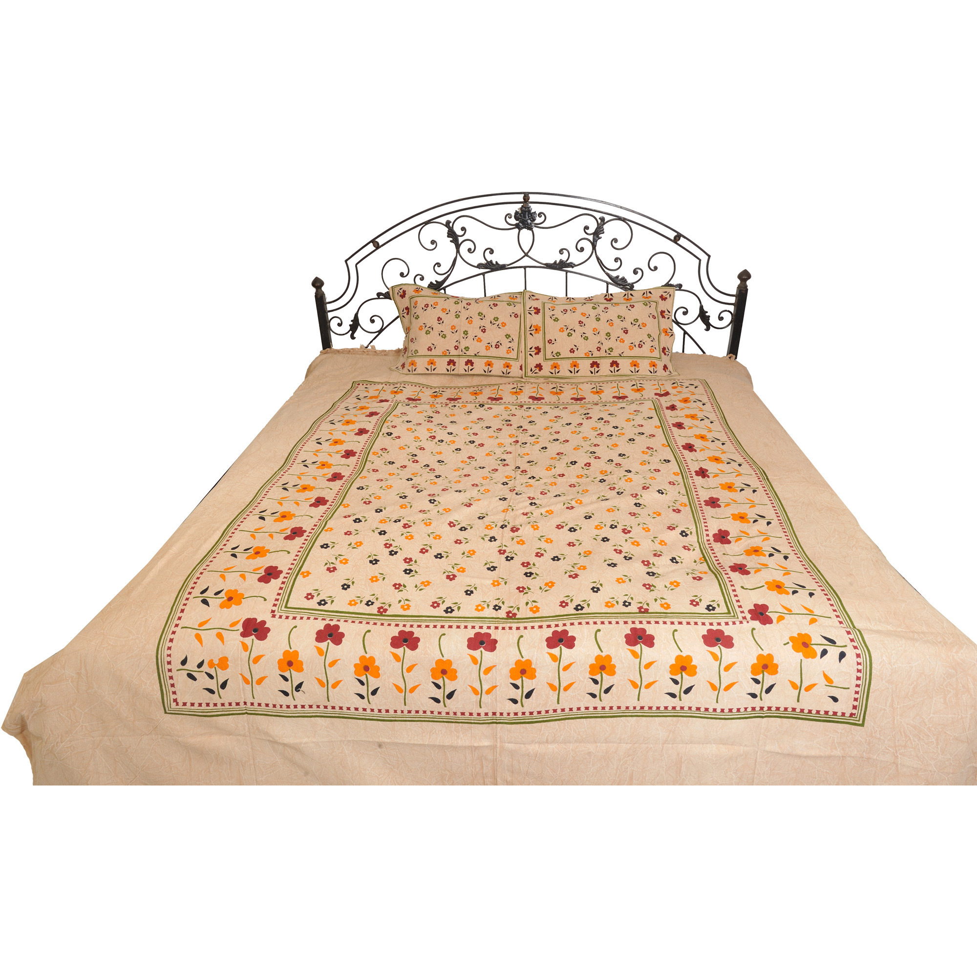 Shifting-Sand Bedsheet from Pilkhuwa with Printed Flowers