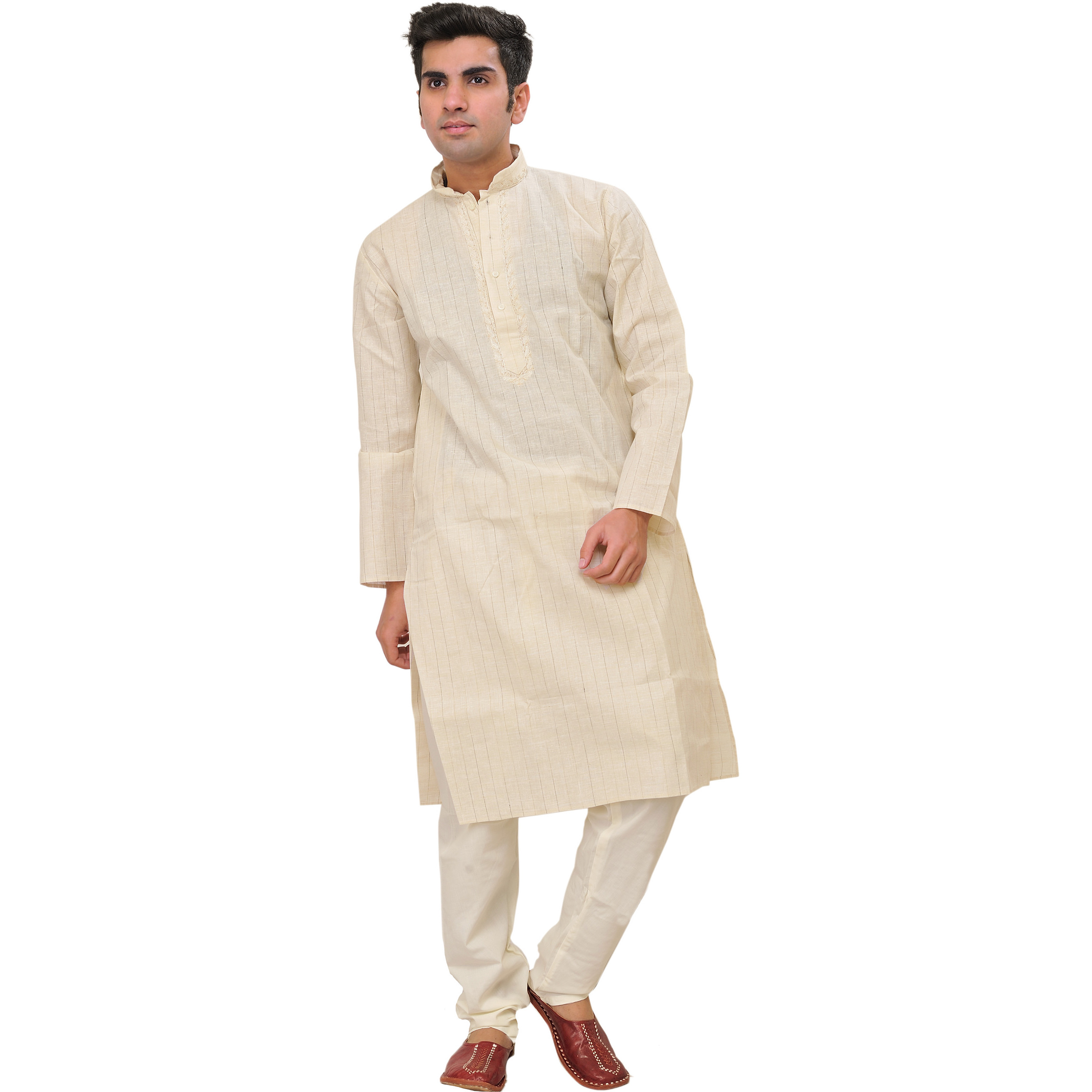 Cream Kurta Pajama Set with Woven Stripes and Embroidery on Neck