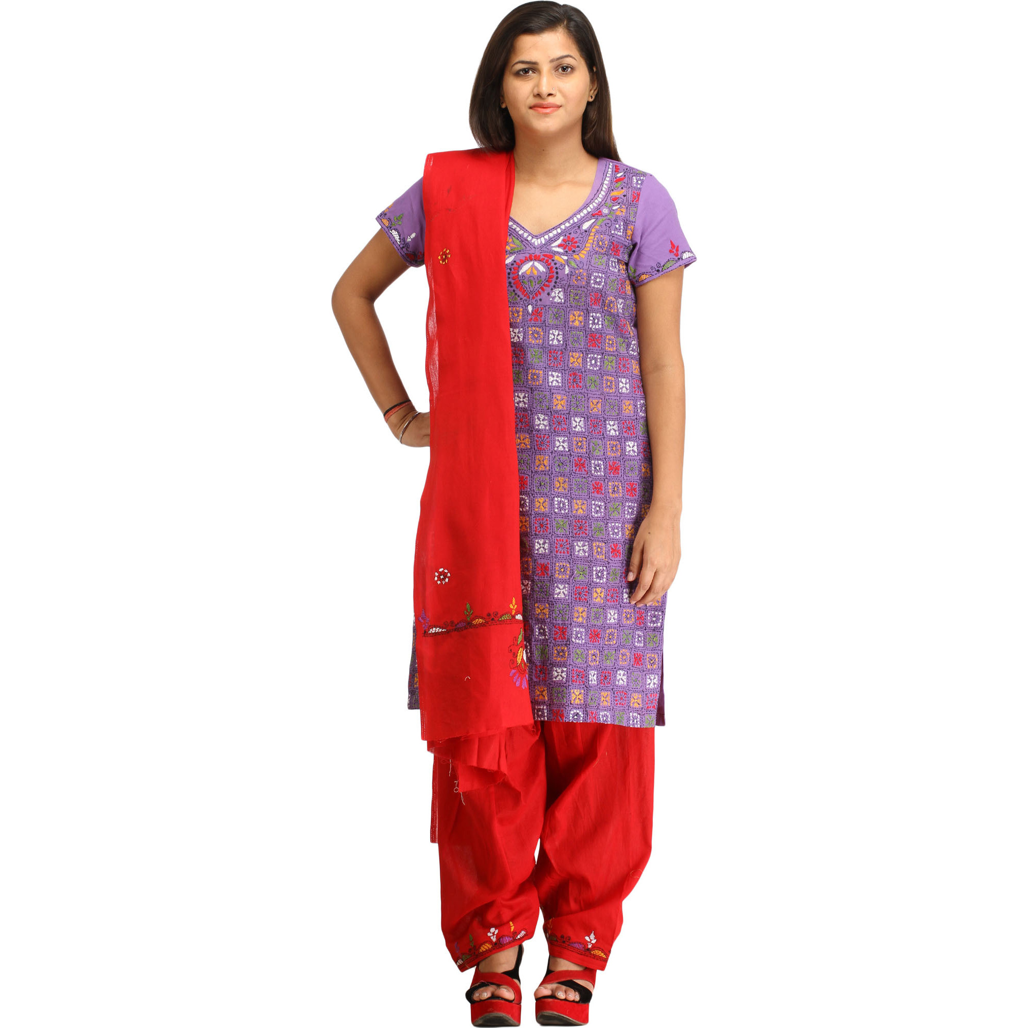 Purple and Red Salwar Kameez Suit from Kolkata with Kantha Hand-Embroidery